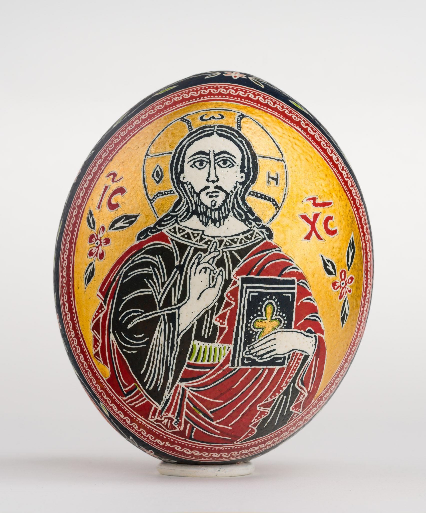 Icoană încondeiată pe ou de struț - Iisus Hristos cu Apostoli - maryando-101.jpg