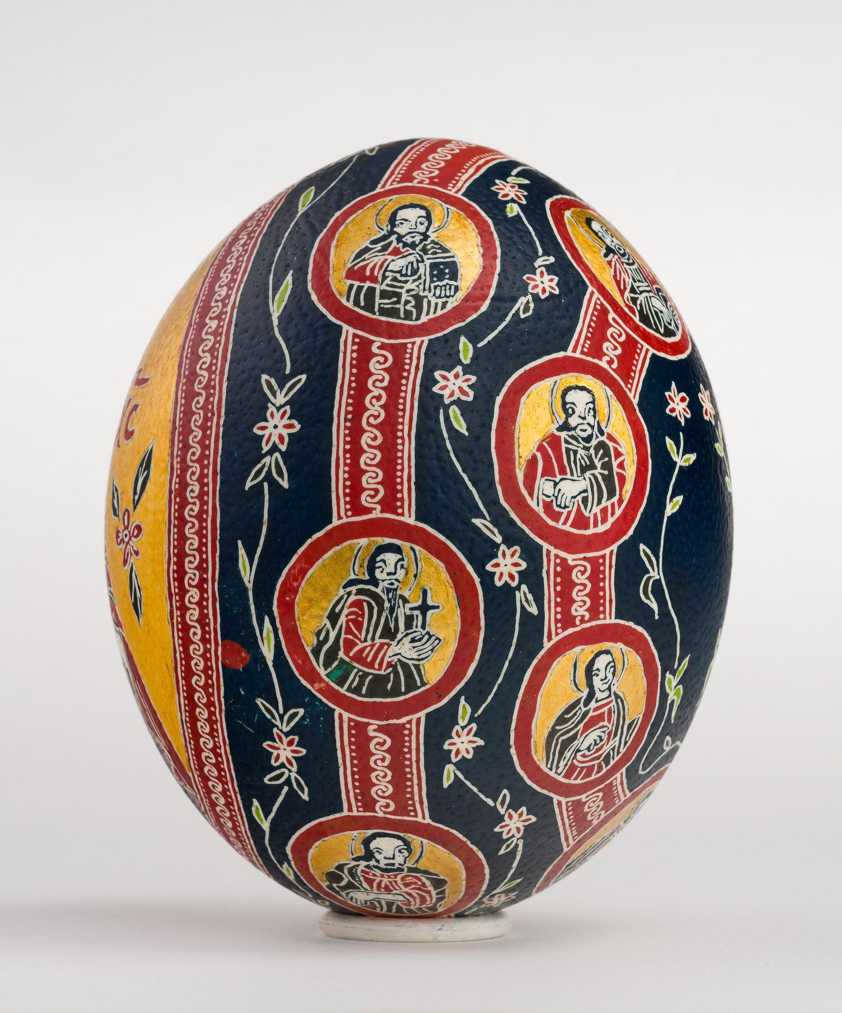 Icoană încondeiată pe ou de struț - Iisus Hristos cu Apostoli - maryando-101b.jpg