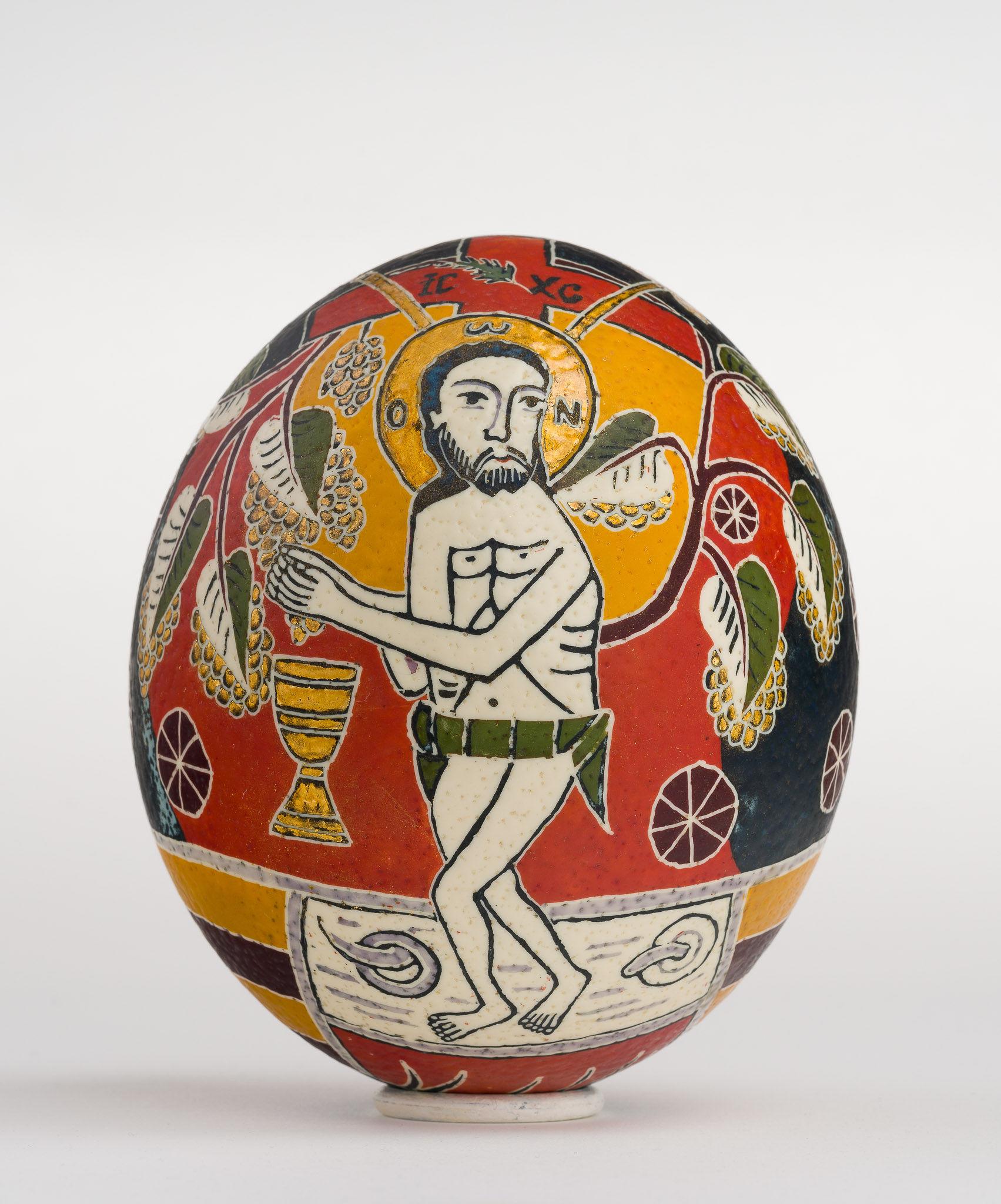 Icoană încondeiată pe ou de struț - Iisus cu vița - maryando-102.jpg