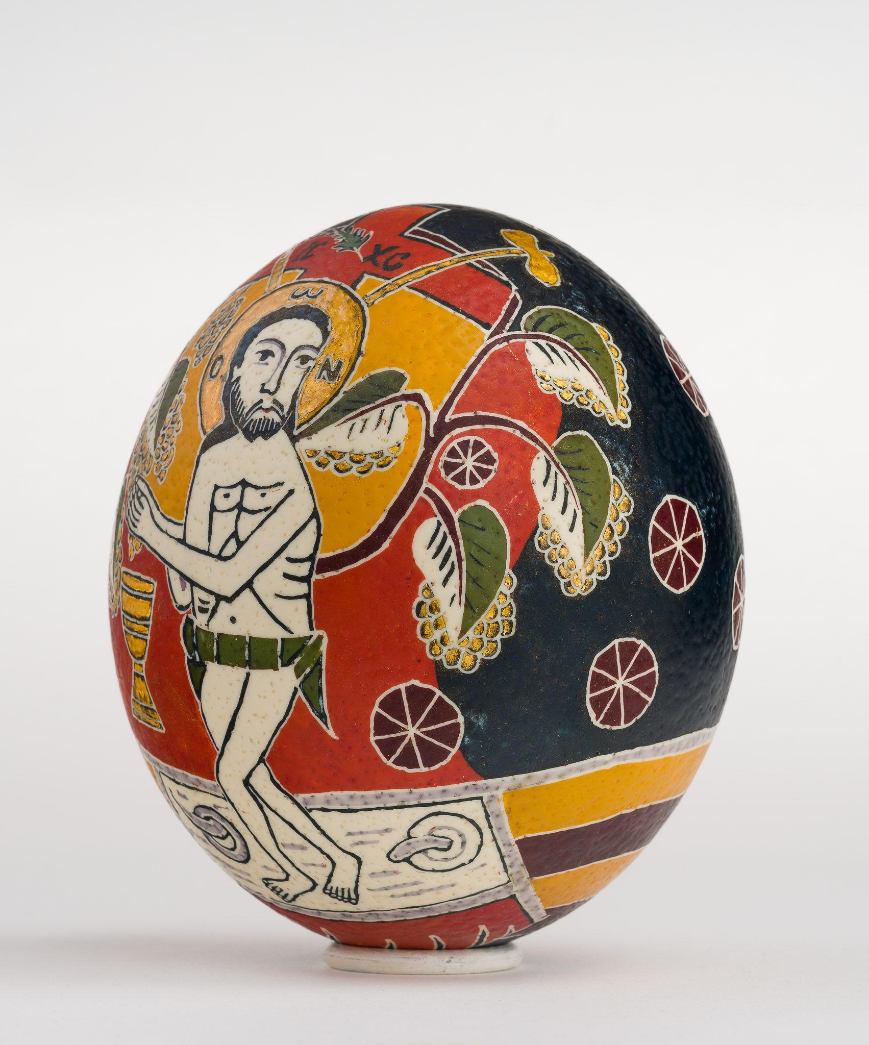 Icoană încondeiată pe ou de struț - Iisus cu vița - maryando-102a.jpg