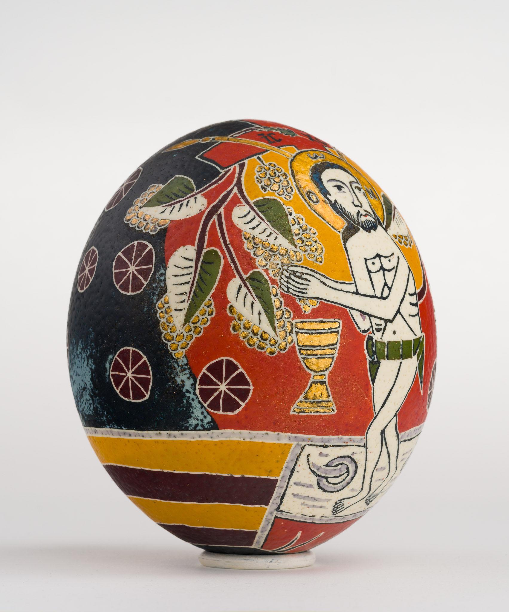 Icoană încondeiată pe ou de struț - Iisus cu vița - maryando-102c.jpg