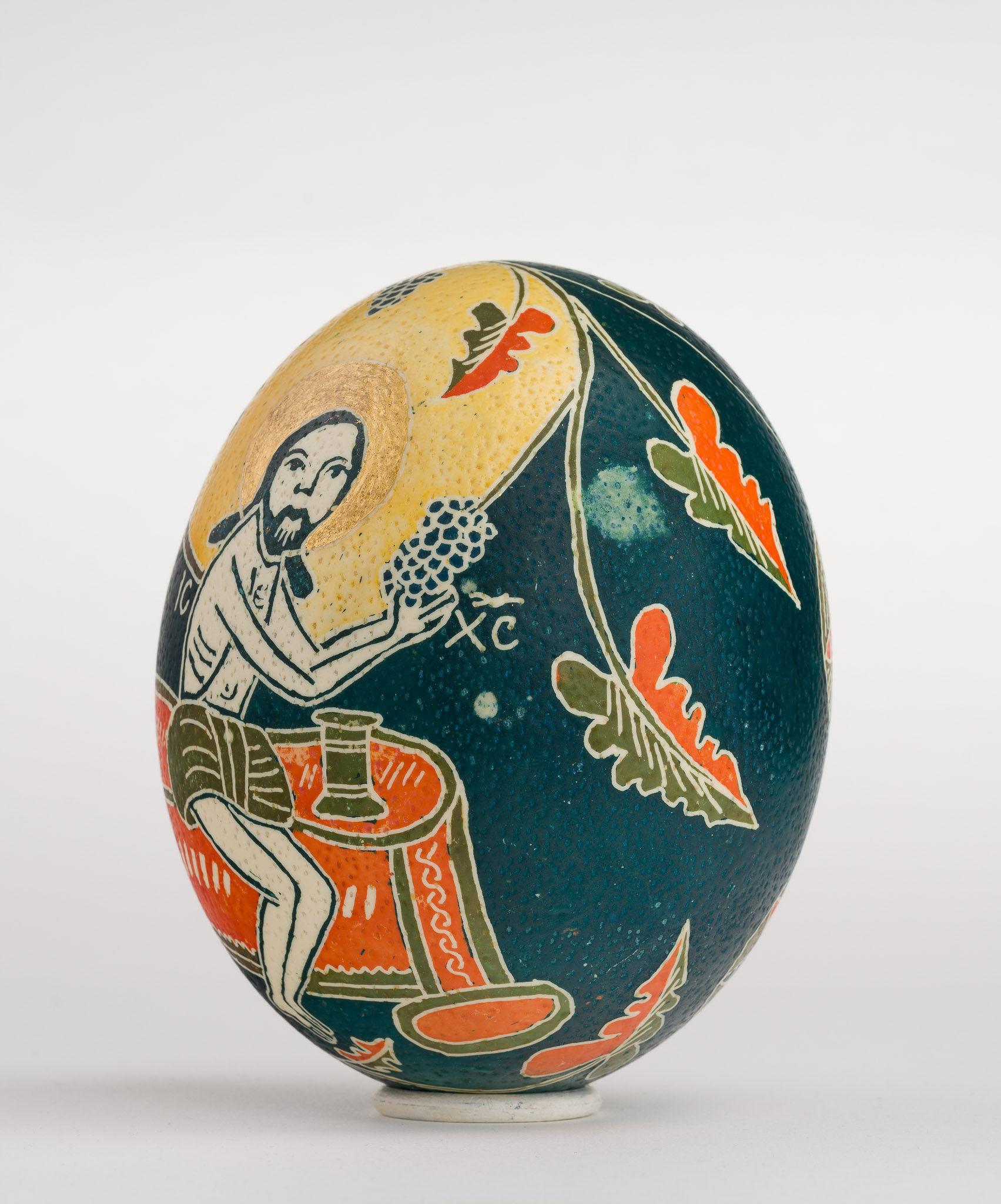 Icoană încondeiată pe ou de struț - Iisus cu vița - maryando-103a.jpg