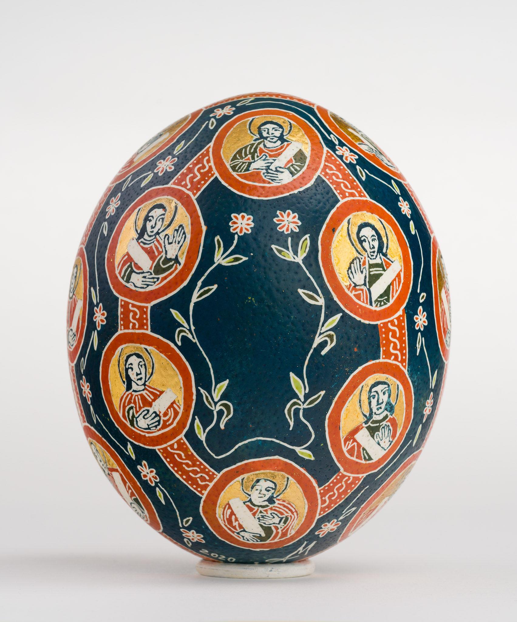 """Icoană încondeiată pe ou de struț - Maica Domnului cu """"Prooroci"""" - maryando-105b.jpg"""