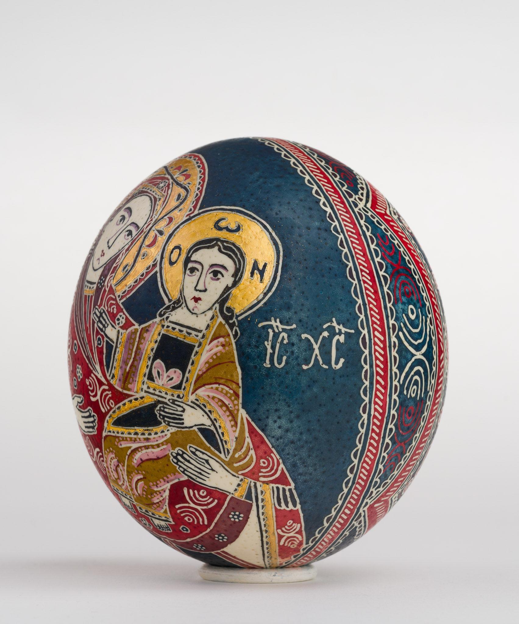 Icoană încondeiată pe ou de struț - Maica Domnului cu pruncul (Hodighitria) - maryando-106a.jpg