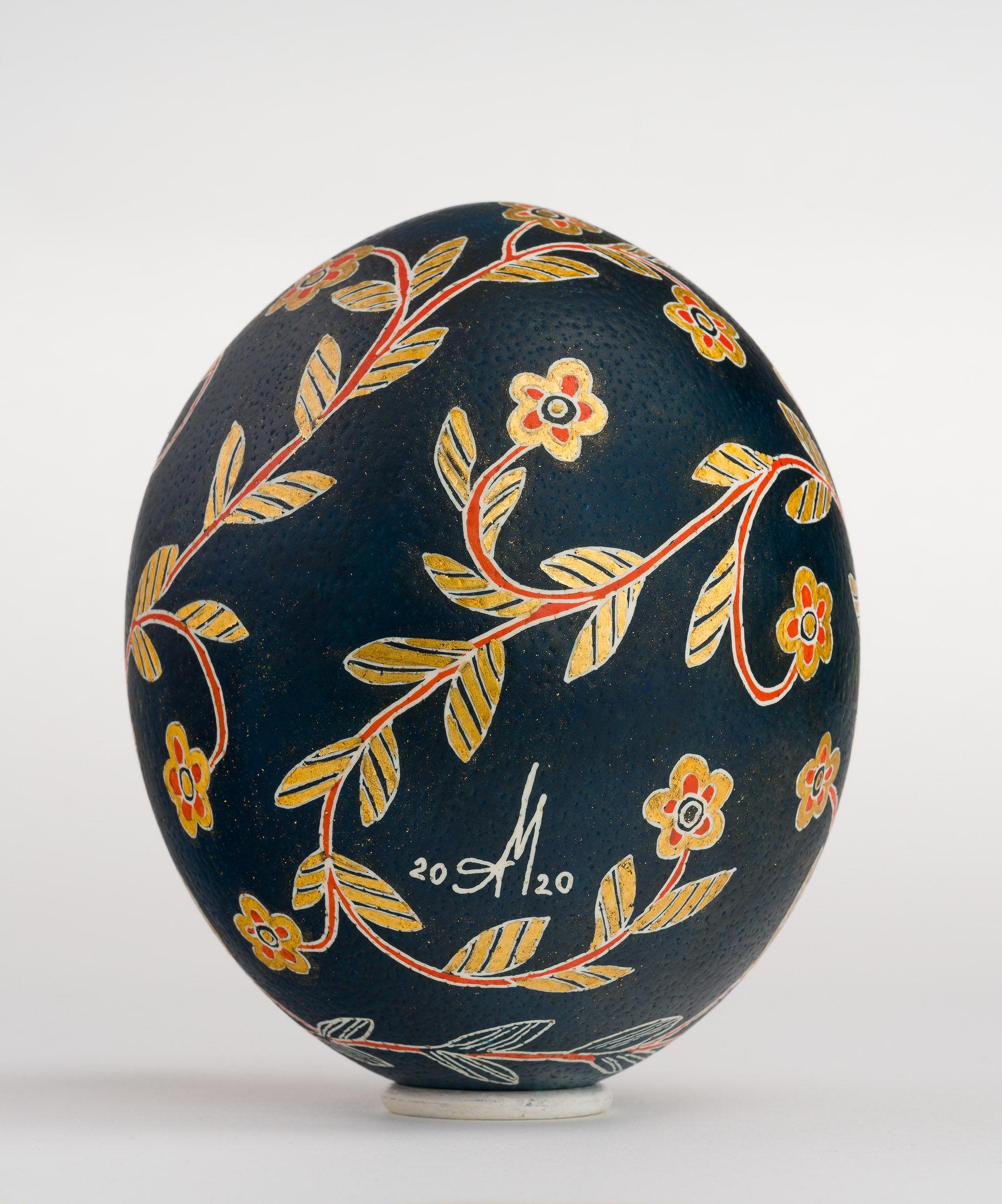 Icoană încondeiată pe ou de struț - Maica Domnului Îndurerată (Jalnică) - maryando-108b.jpg