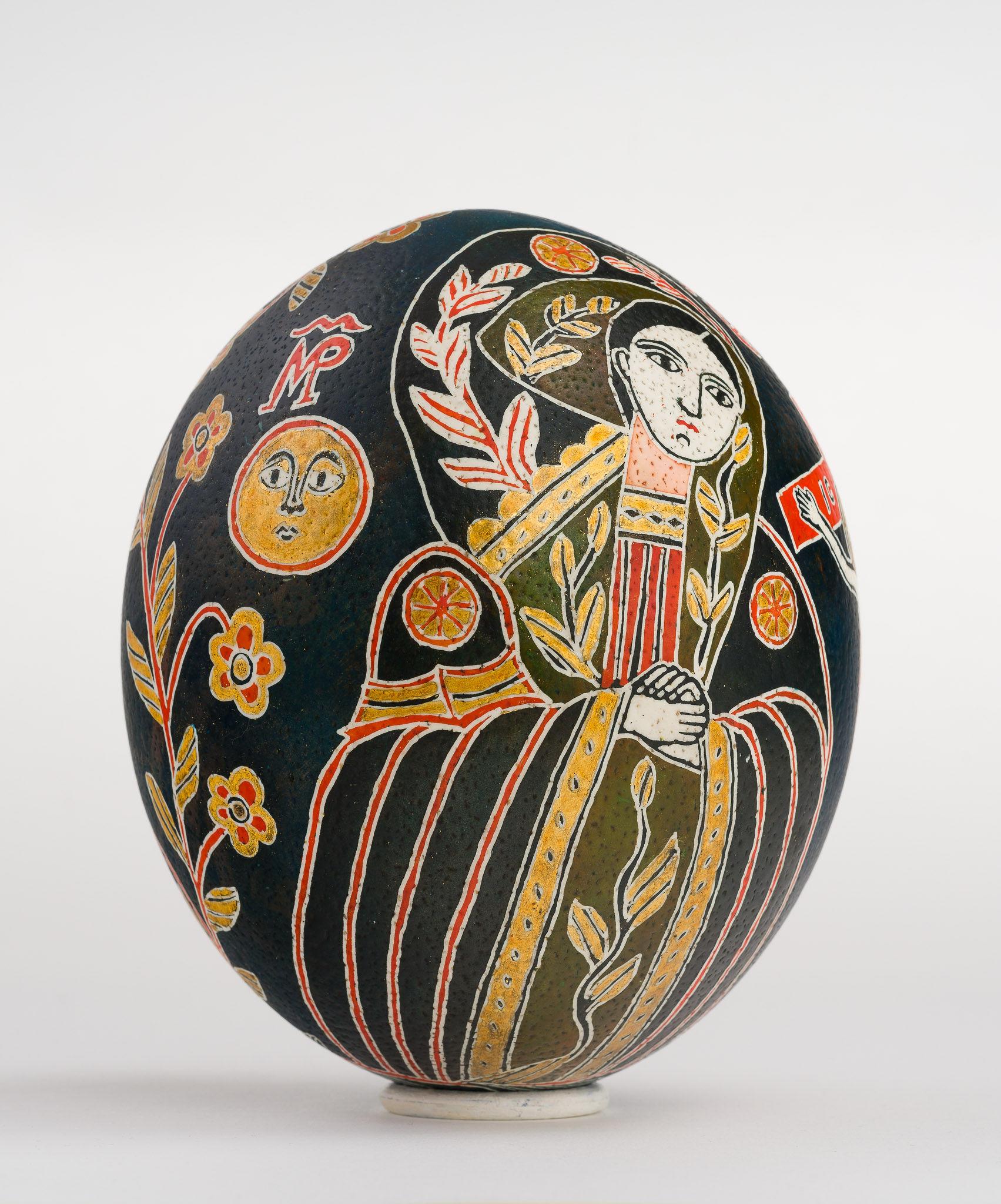Icoană încondeiată pe ou de struț - Maica Domnului Îndurerată (Jalnică) - maryando-108c.jpg