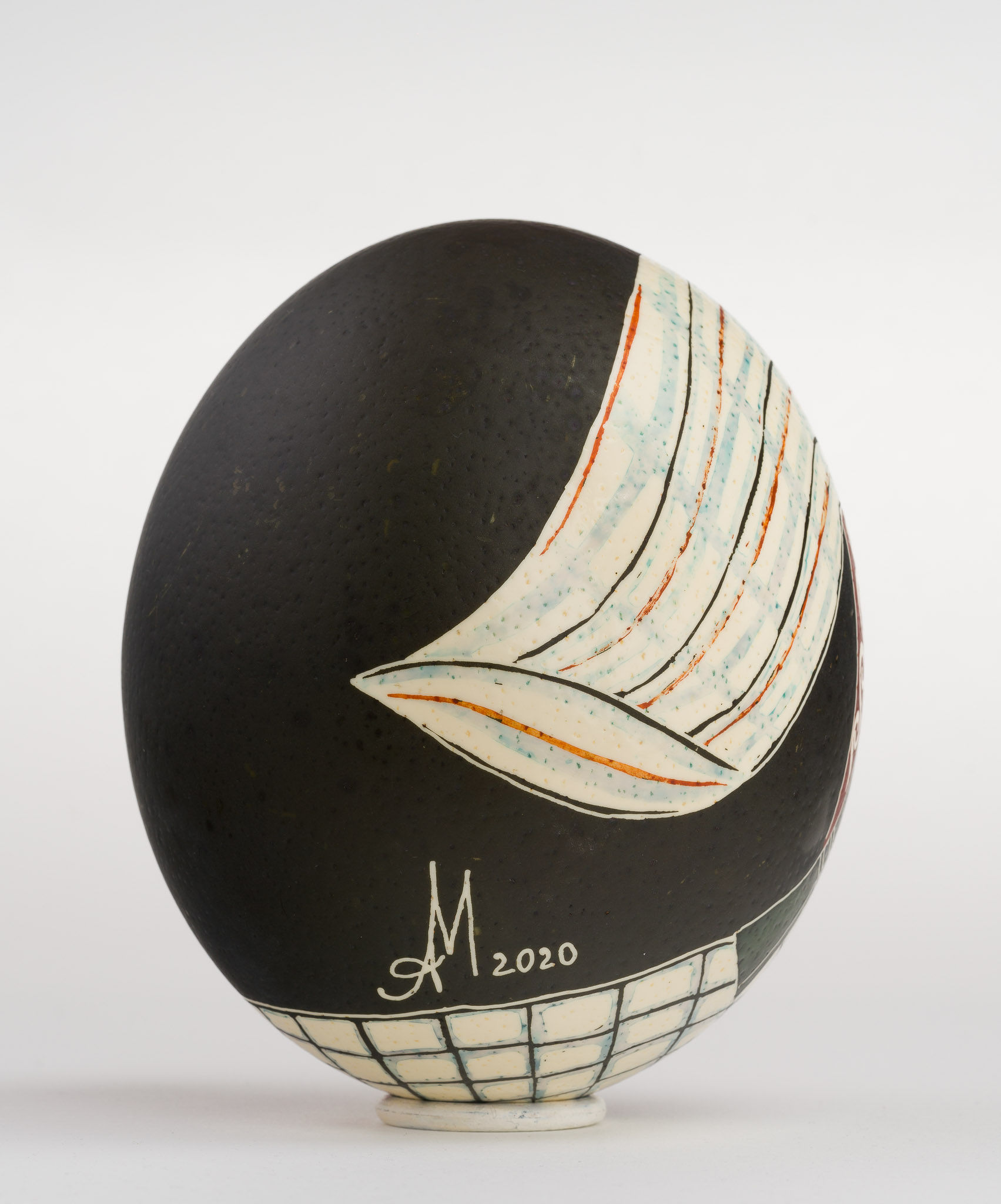 Icoană încondeiată pe ou de struț - Nașterea Precistei - maryando-109b.jpg