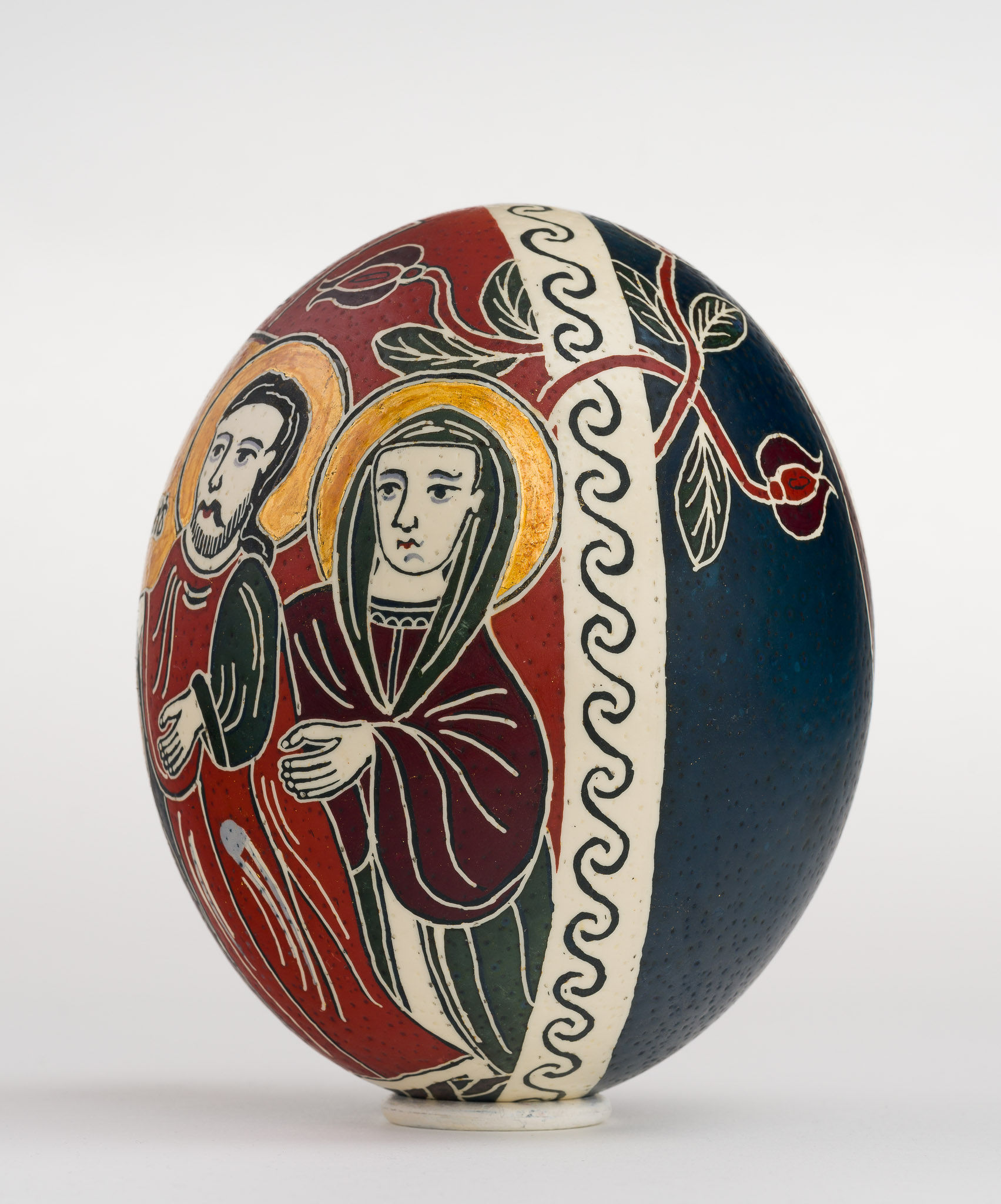 Icoană încondeiată pe ou de struț - Vovedenia. Aducerea Maicii Domnului la Templu - maryando-110a.jpg
