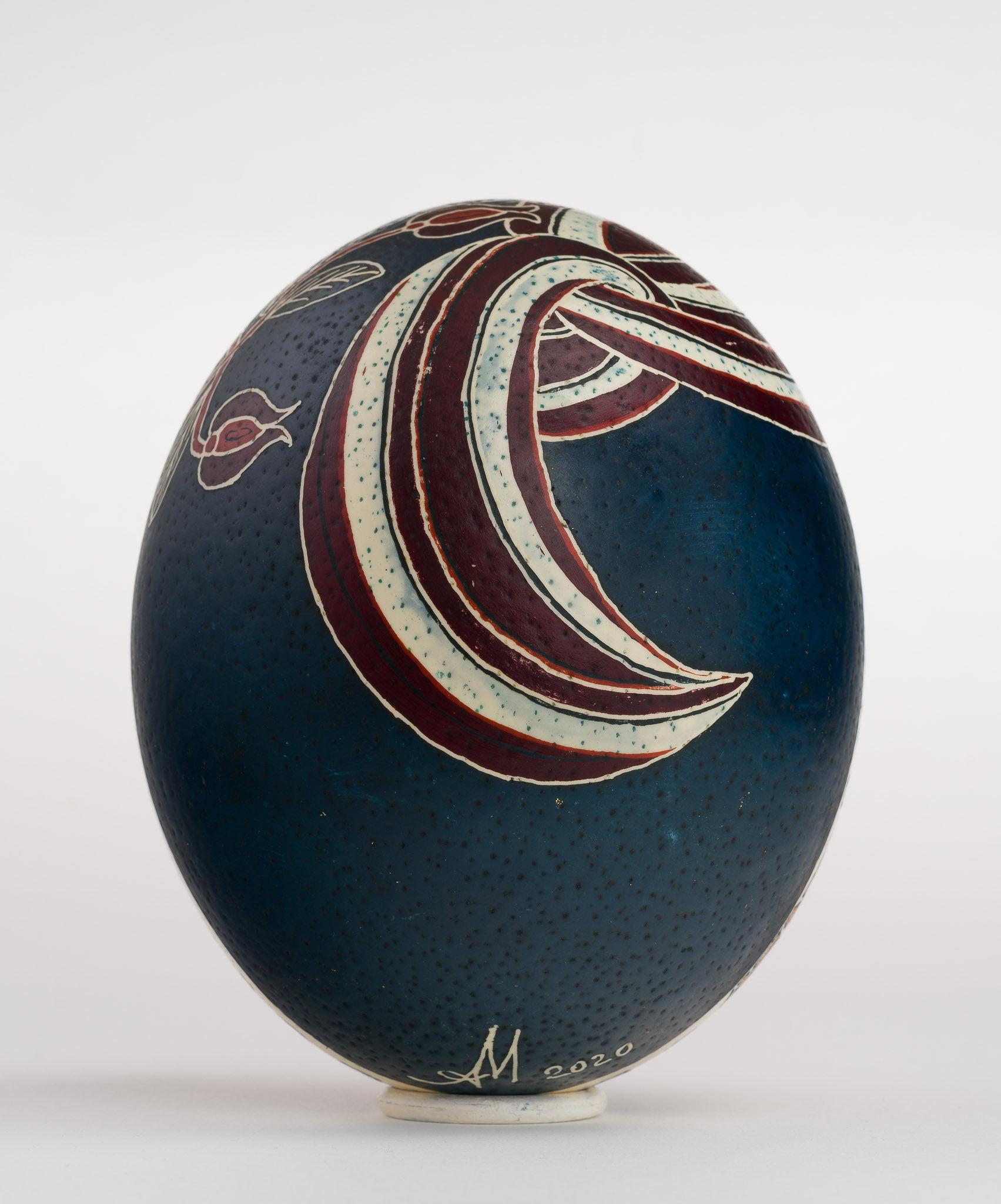 Icoană încondeiată pe ou de struț - Vovedenia. Aducerea Maicii Domnului la Templu - maryando-110b.jpg