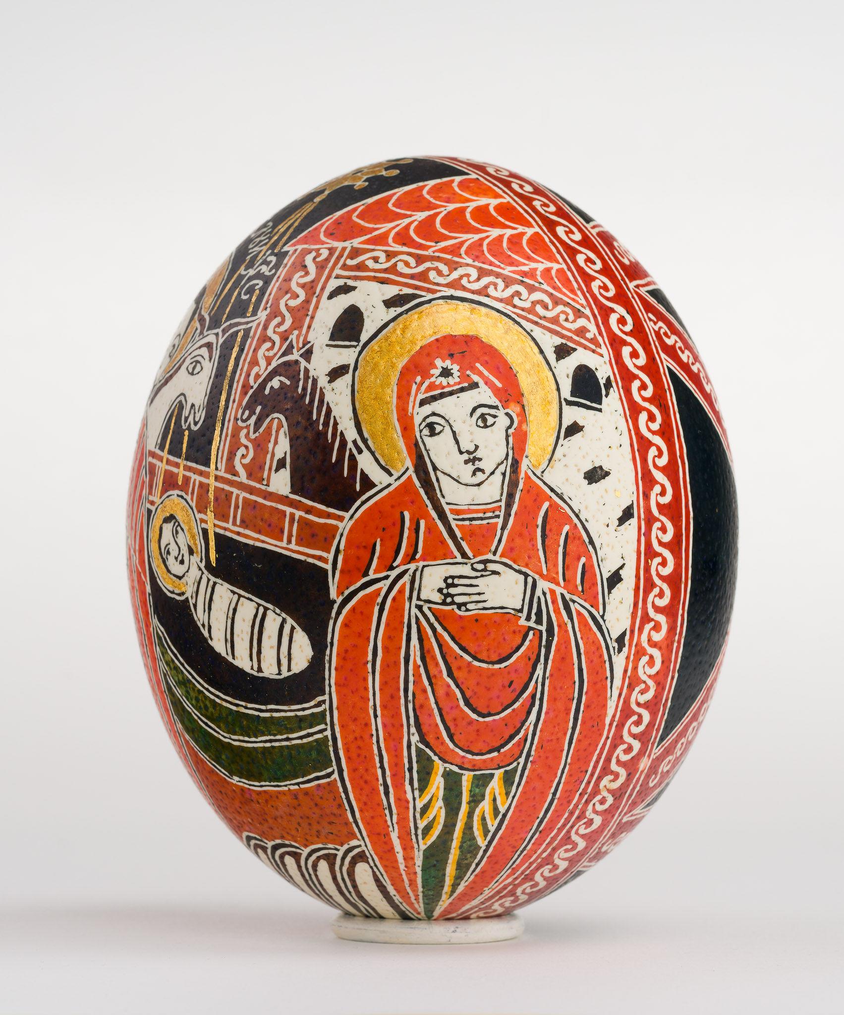 Icoană încondeiată pe ou de struț - Nașterea Domnului - maryando-112a.jpg