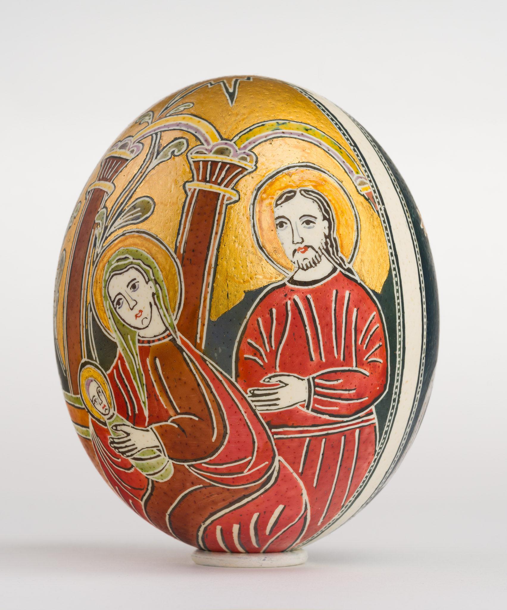 Icoană încondeiată pe ou de struț - Nașterea Domnului - maryando-113a.jpg