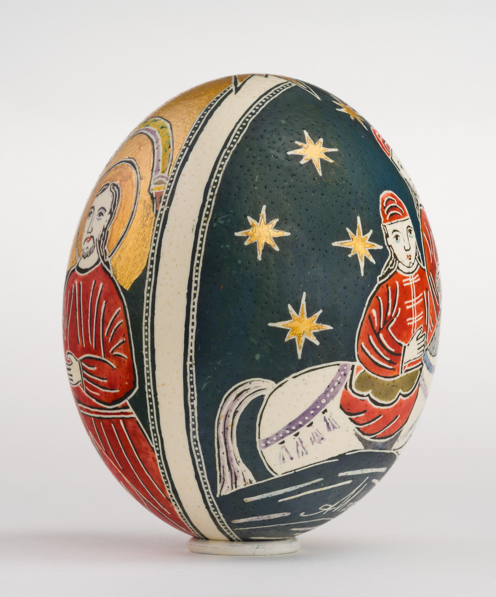 Icoană încondeiată pe ou de struț - Nașterea Domnului - maryando-113b.jpg
