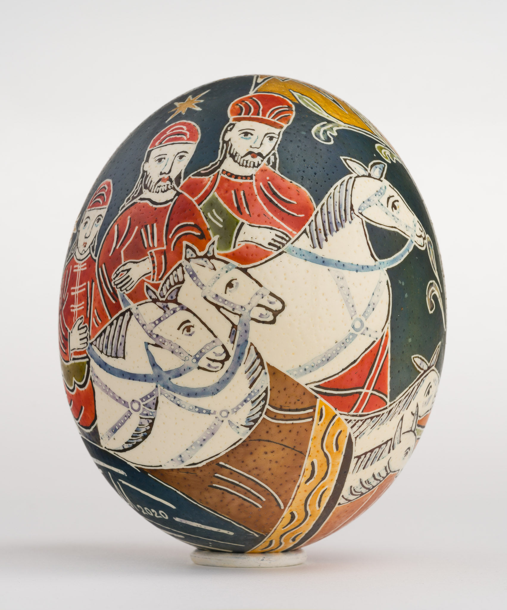 Icoană încondeiată pe ou de struț - Nașterea Domnului - maryando-113d.jpg