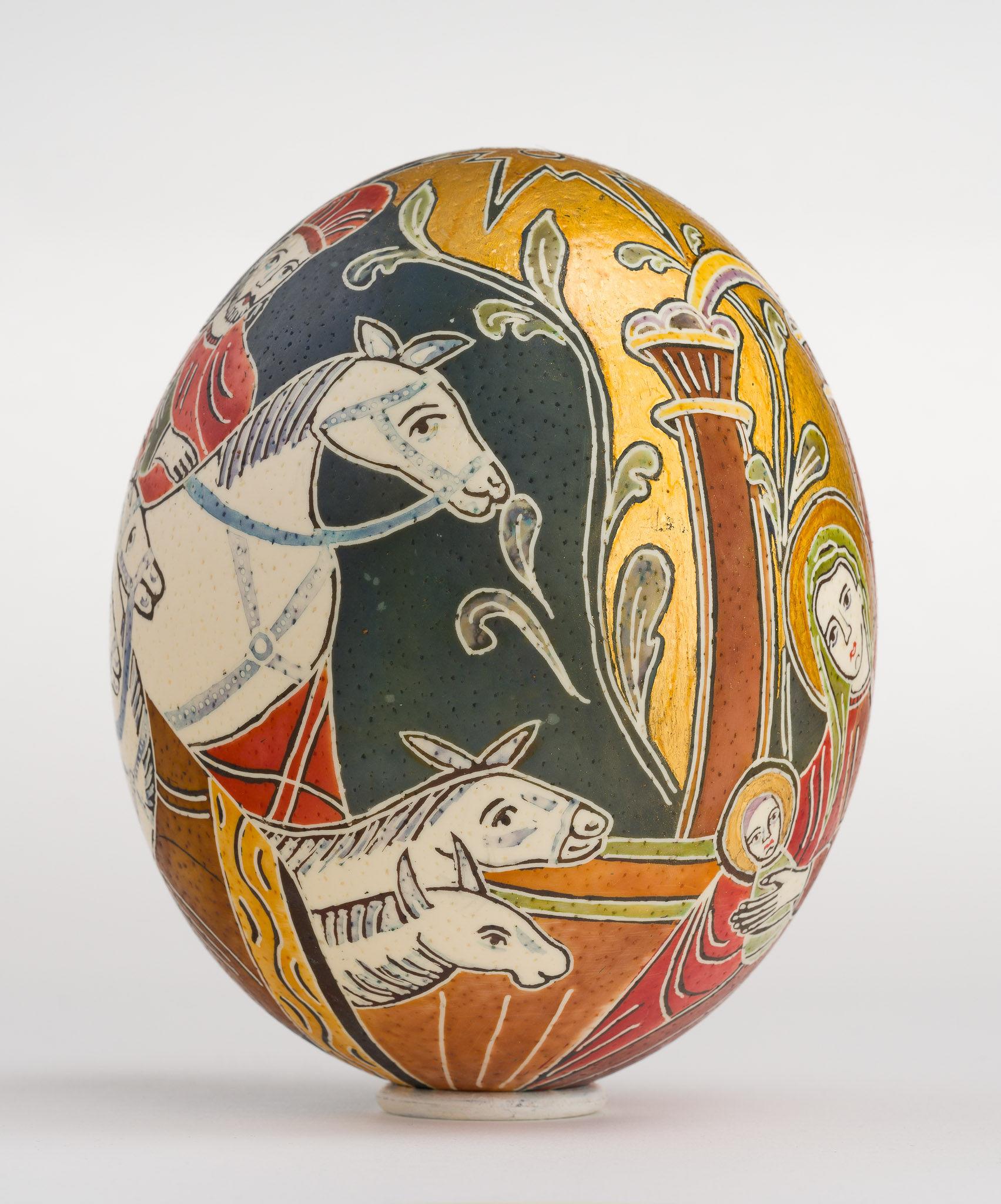 Icoană încondeiată pe ou de struț - Nașterea Domnului - maryando-113e.jpg