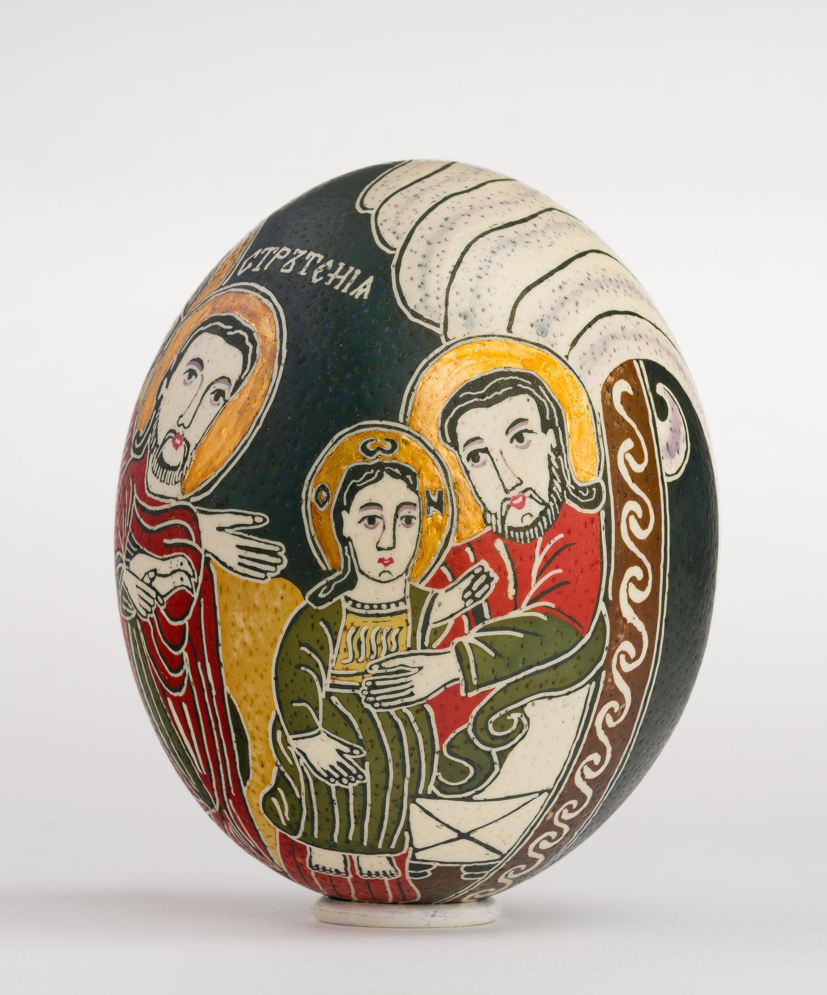 Icoană încondeiată pe ou de struț - Stretenie. Întâmpinarea Domnului - maryando-115a.jpg
