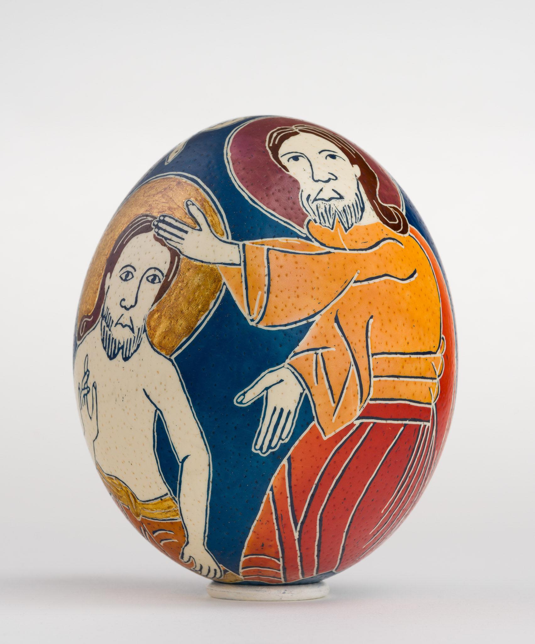 Icoană încondeiată pe ou de struț - Botezul Domnului - maryando-116.jpg