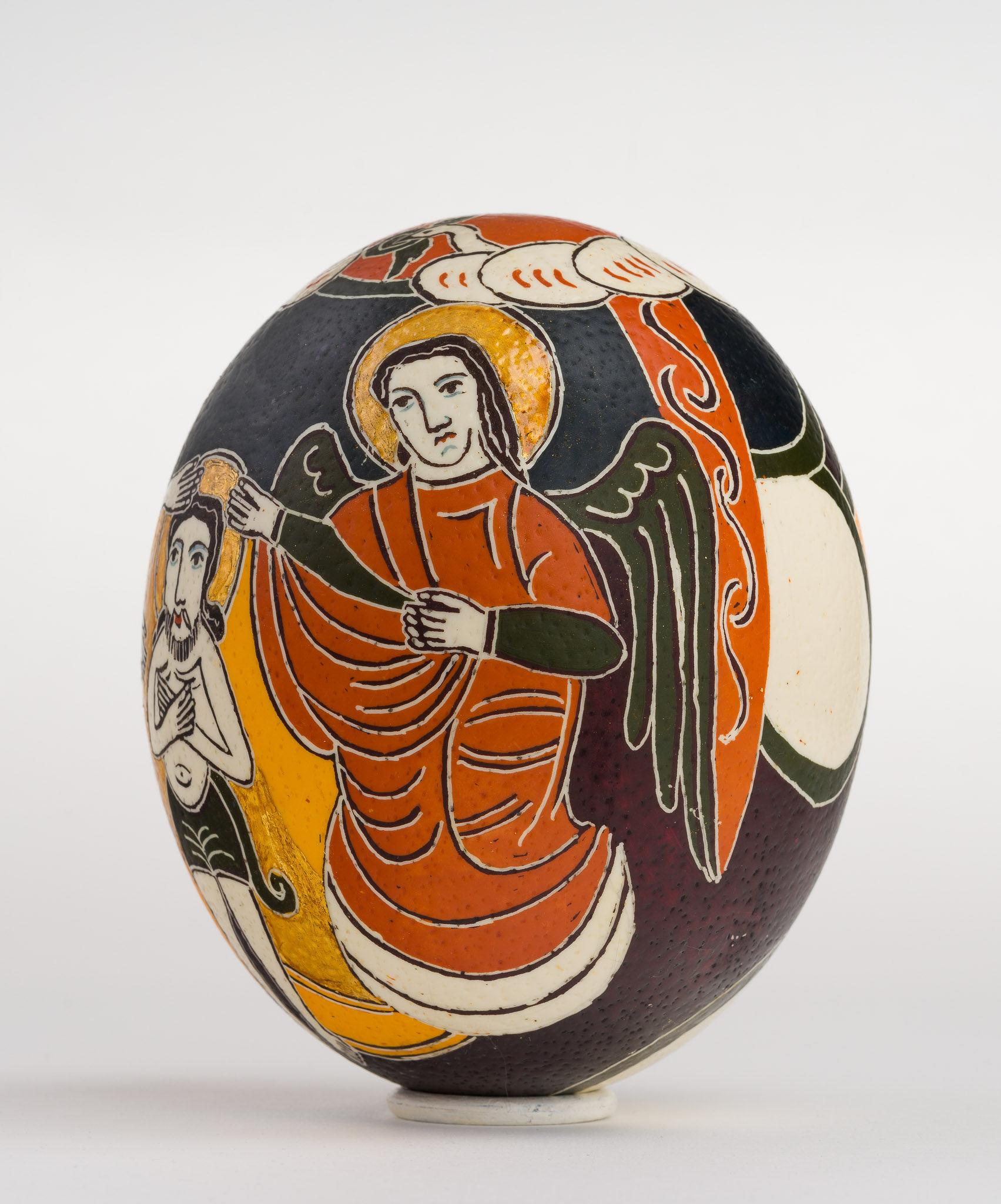 Icoană încondeiată pe ou de struț - Botezul Domnului - maryando-117a.jpg