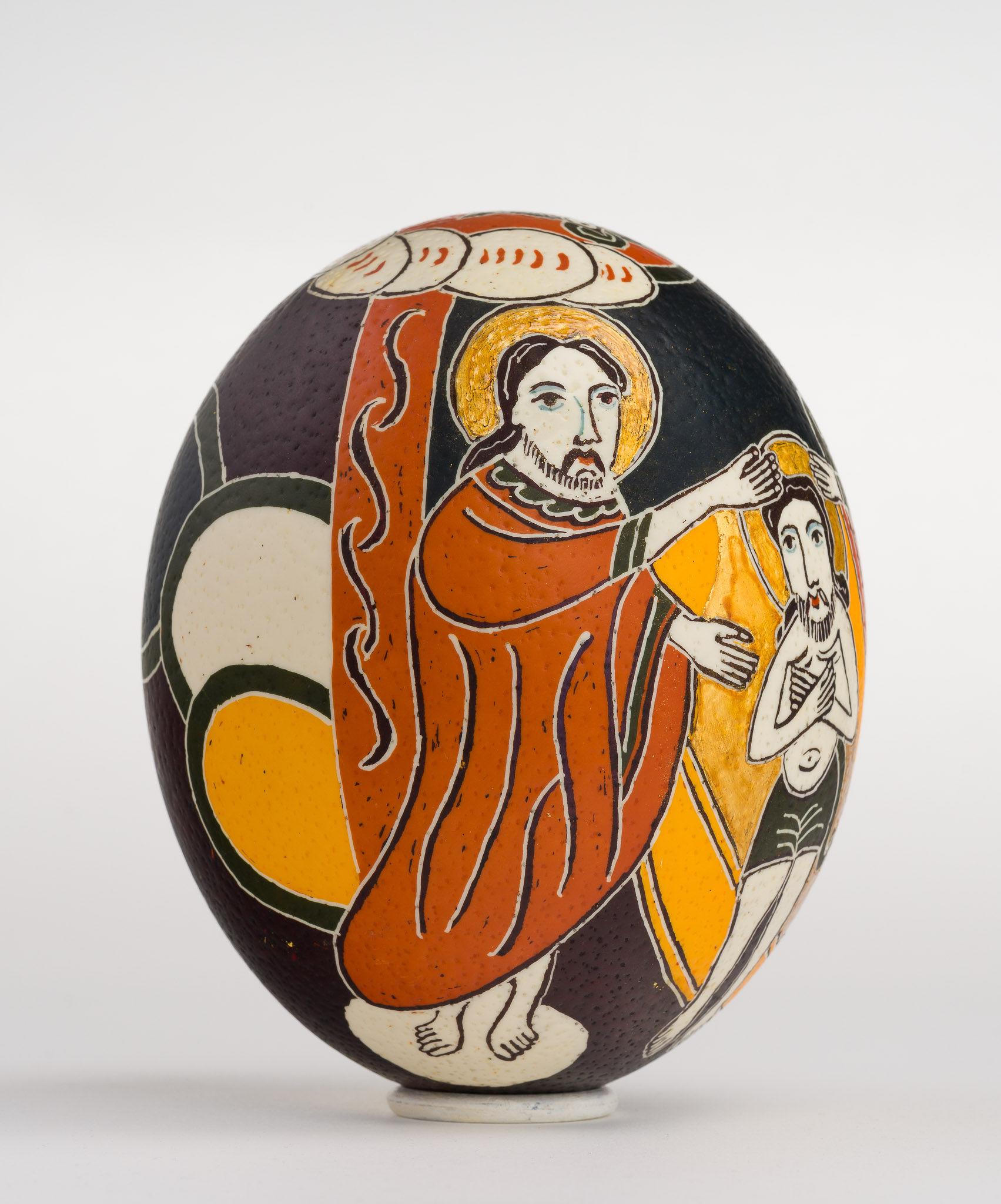 Icoană încondeiată pe ou de struț - Botezul Domnului - maryando-117c.jpg