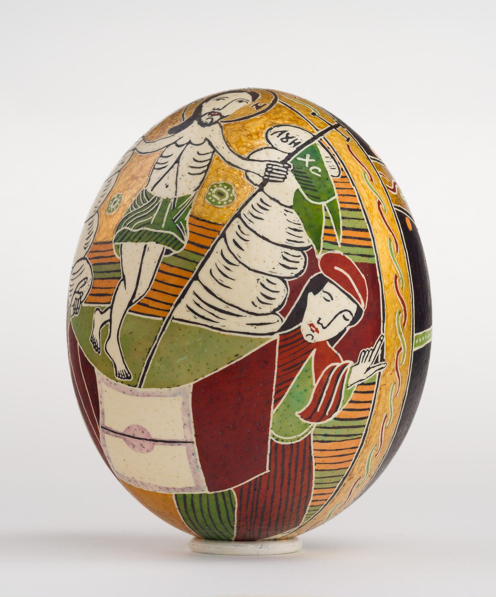 Icoană încondeiată pe ou de struț - Învierea Domnului. Sfintele Paști - maryando-118b.jpg