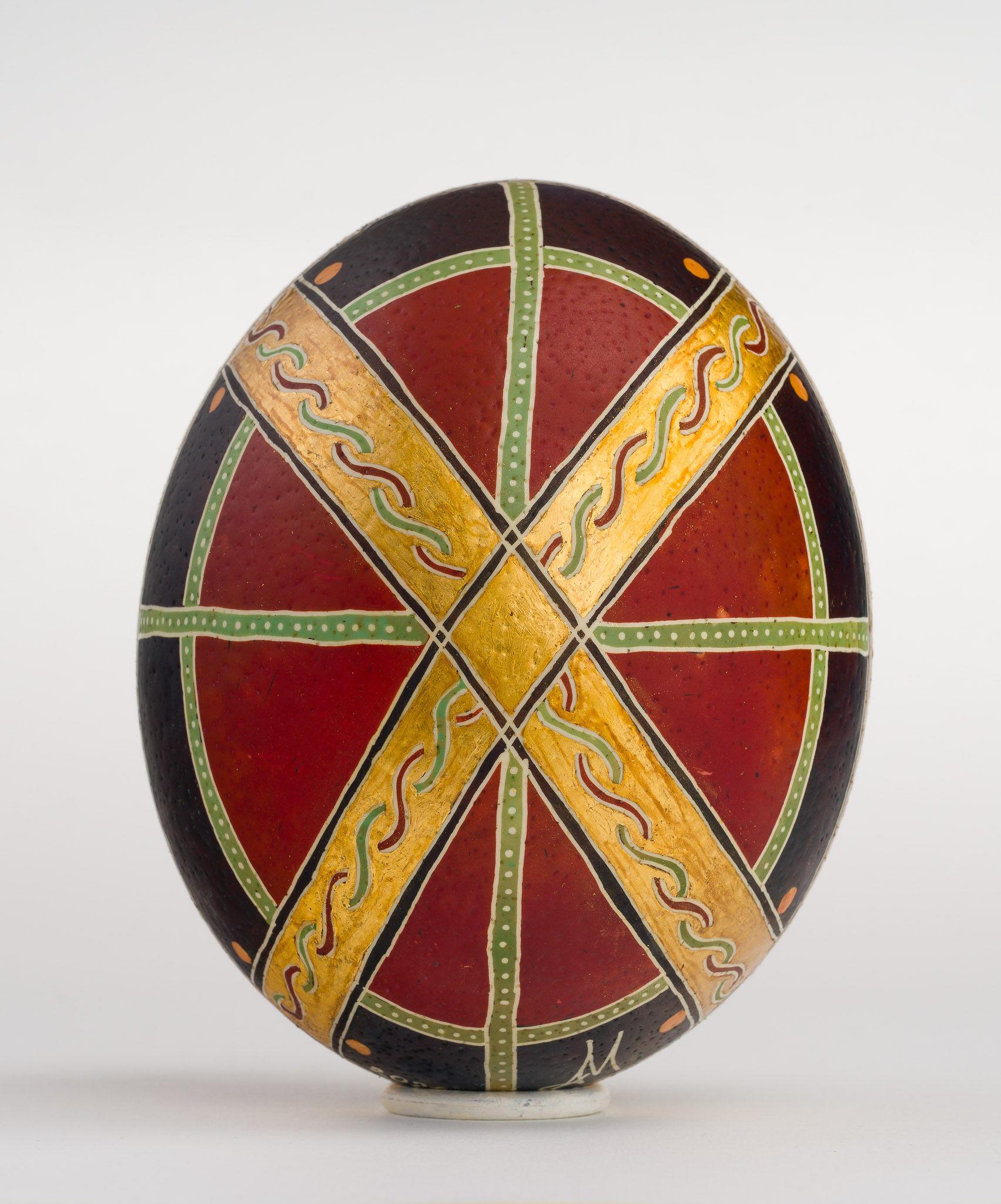 Icoană încondeiată pe ou de struț - Învierea Domnului. Sfintele Paști - maryando-118c.jpg