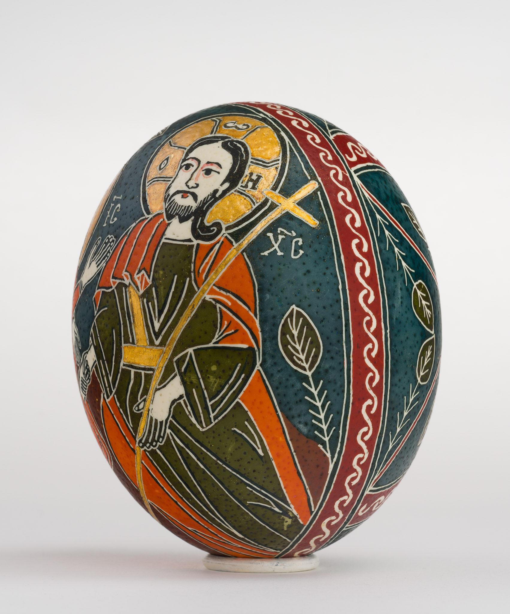 Icoană încondeiată pe ou de struț - Învierea Domnului. Sfintele Paști - maryando-119a.jpg