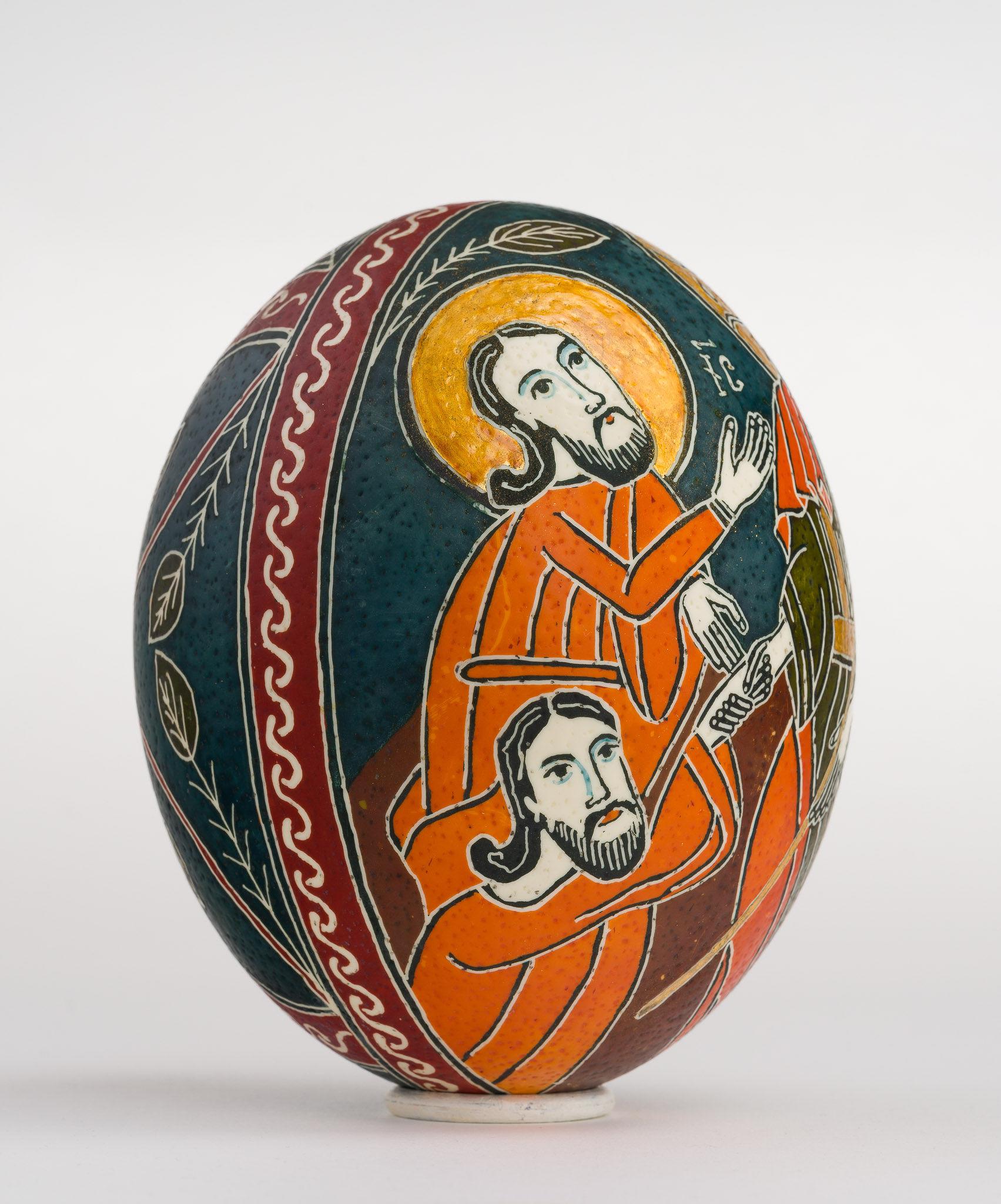 Icoană încondeiată pe ou de struț - Învierea Domnului. Sfintele Paști - maryando-119c.jpg