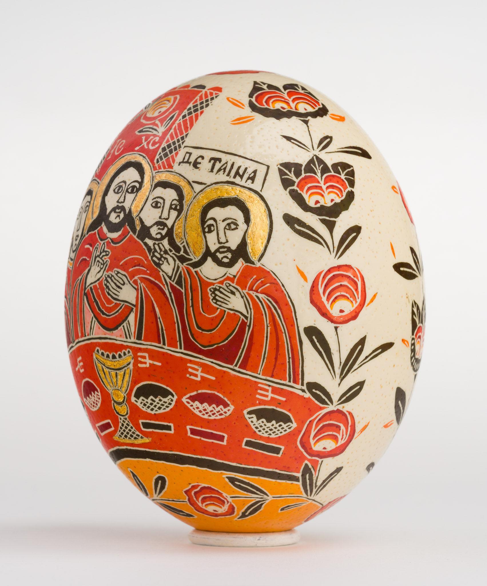 Icoană încondeiată pe ou de struț - Cina cea de Taină - maryando-120a.jpg