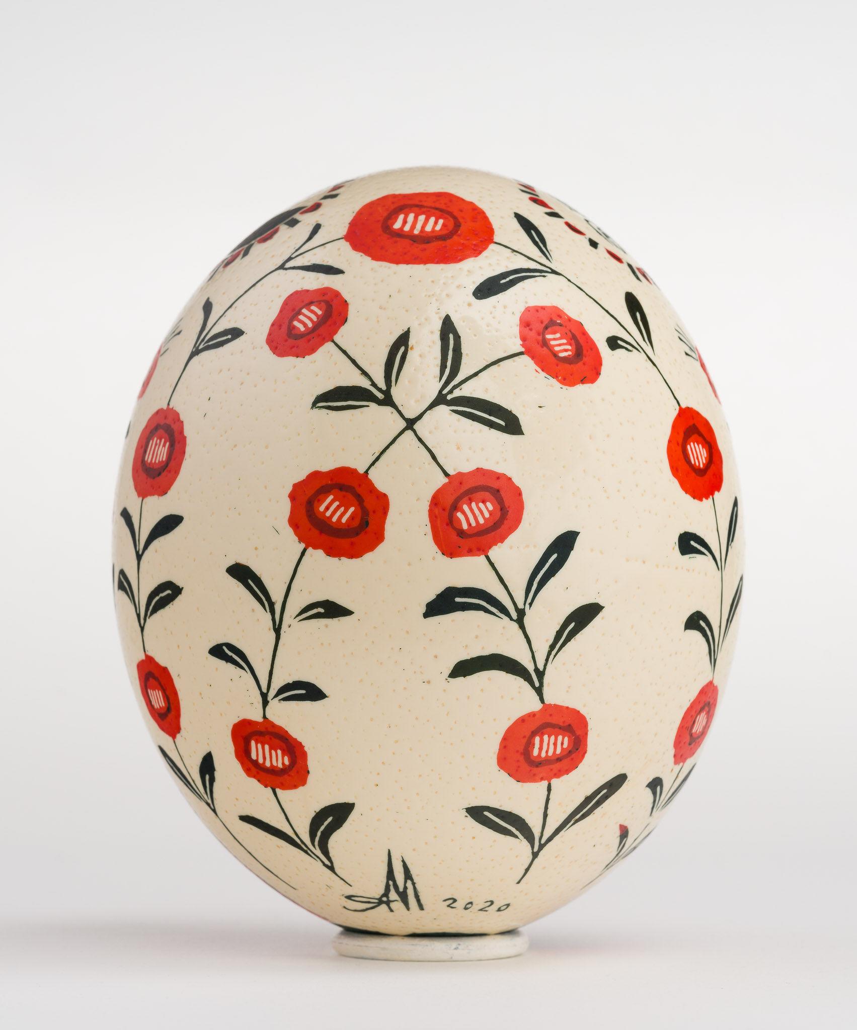 Icoană încondeiată pe ou de struț - Răstignirea Domnului - maryando-121b.jpg