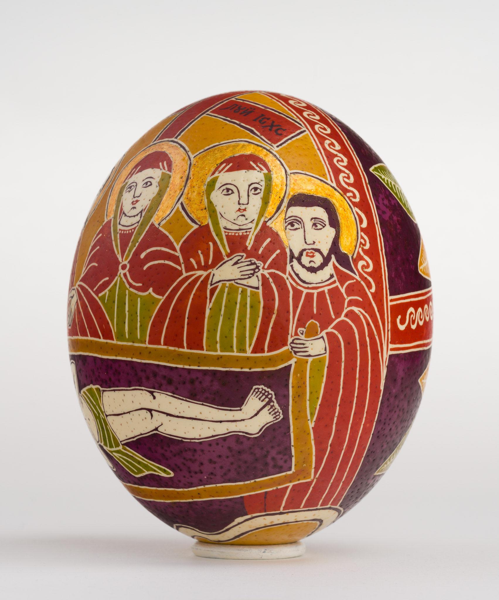 Icoană încondeiată pe ou de struț - Prohodul Domnului - maryando-122a.jpg
