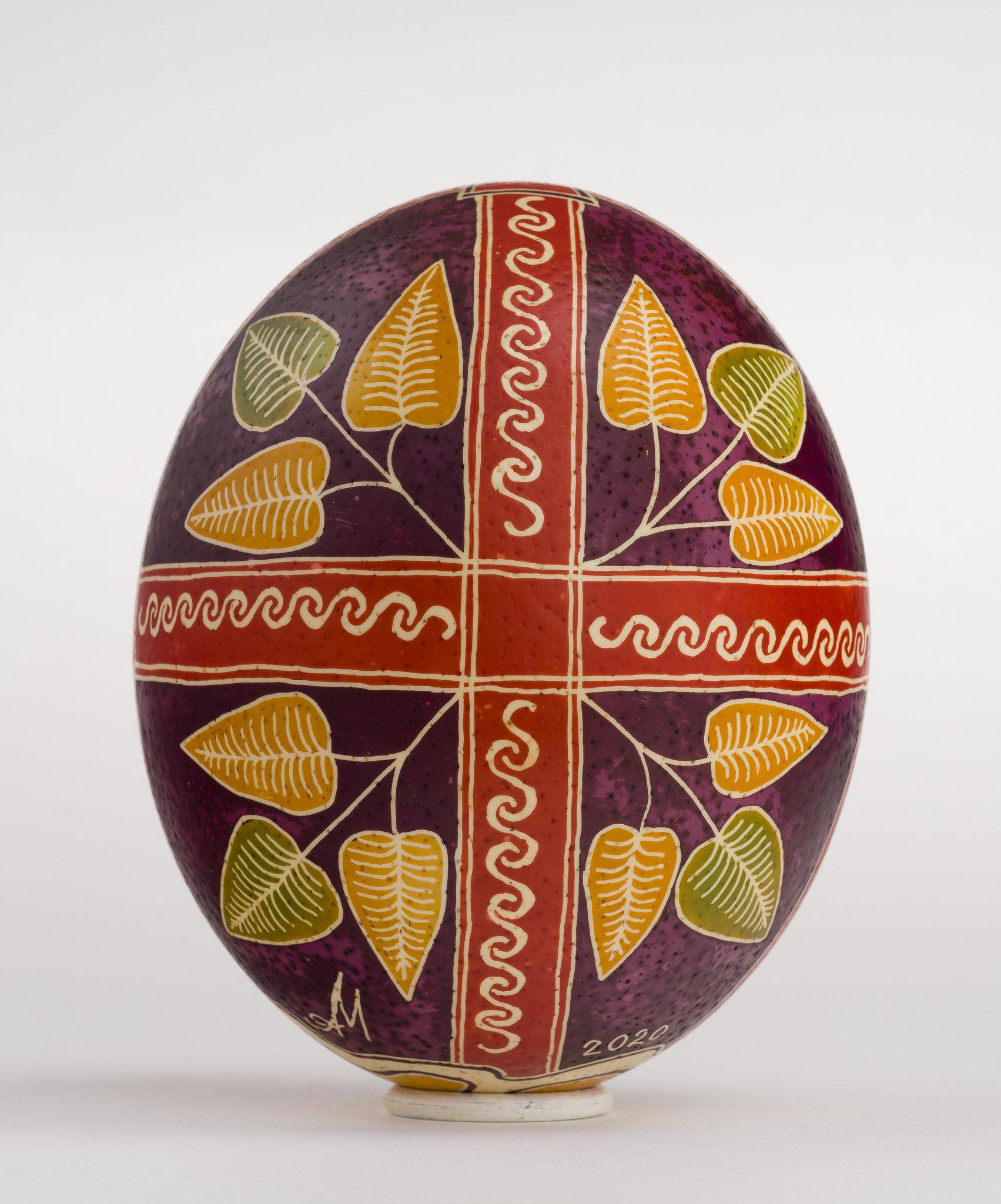 Icoană încondeiată pe ou de struț - Prohodul Domnului - maryando-122b.jpg