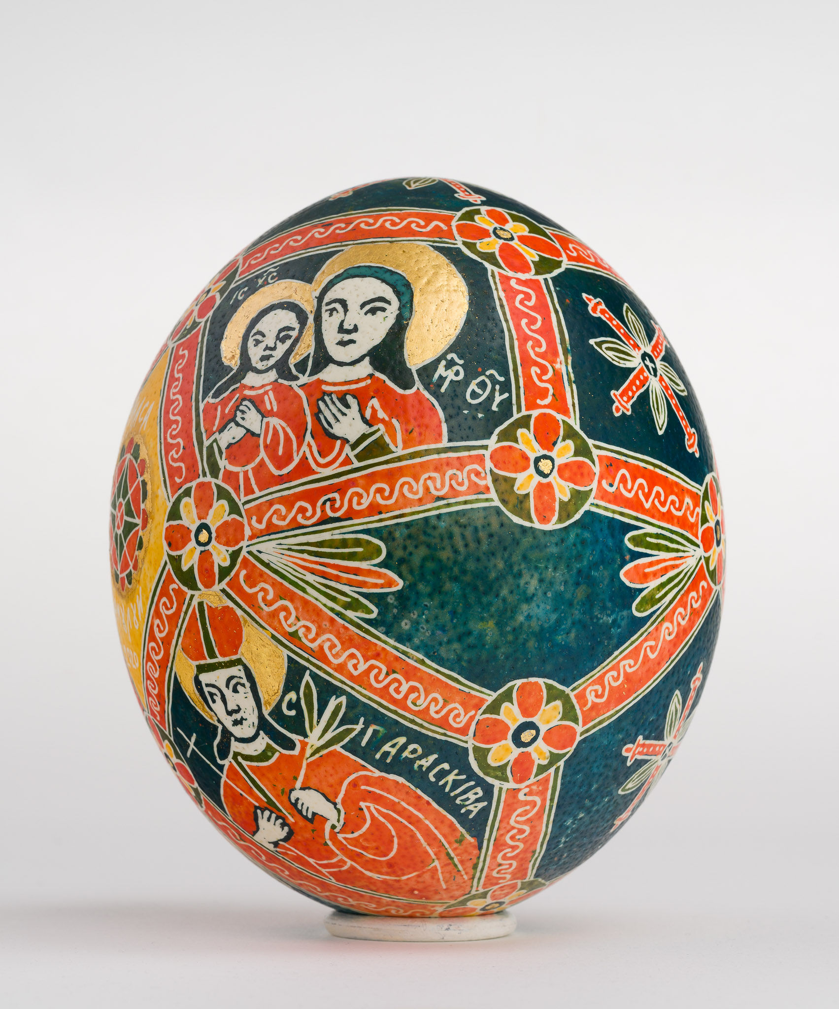 Icoană încondeiată pe ou de struț - Masa Raiului - maryando-123a.jpg