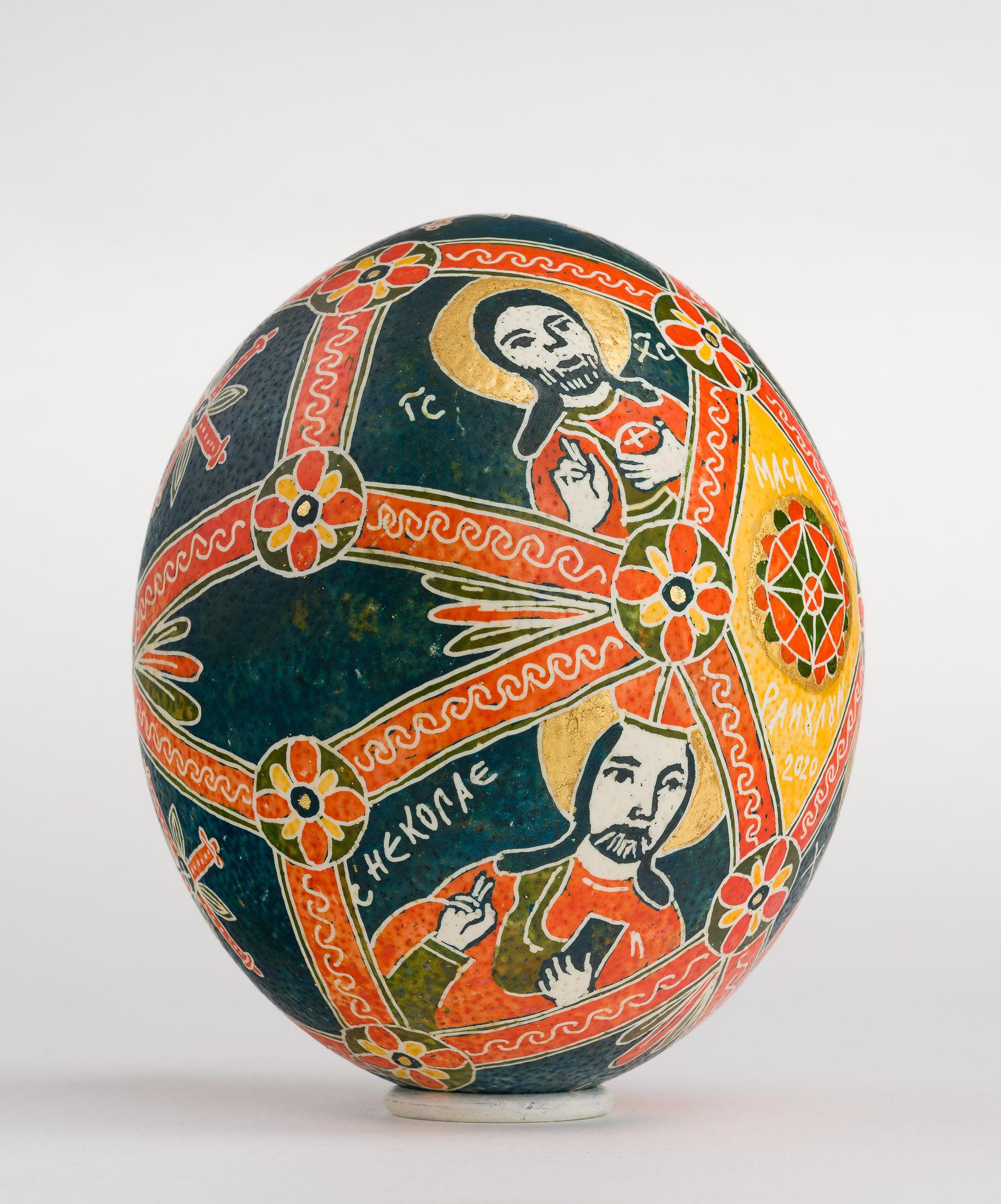 Icoană încondeiată pe ou de struț - Masa Raiului - maryando-123c.jpg