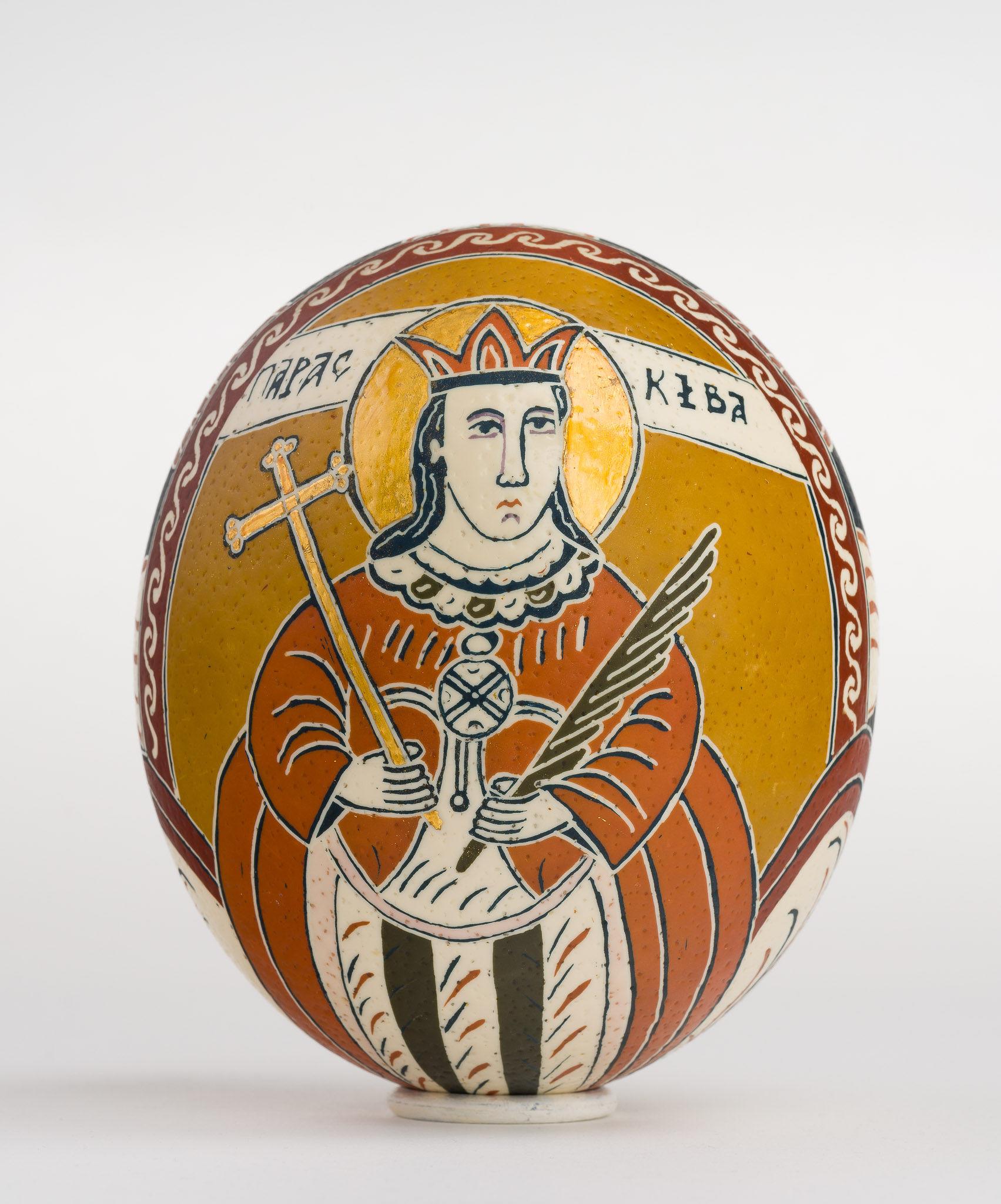Icoană încondeiată pe ou de struț - Sfânta Cuvioasă Paraschiva - maryando-124.jpg