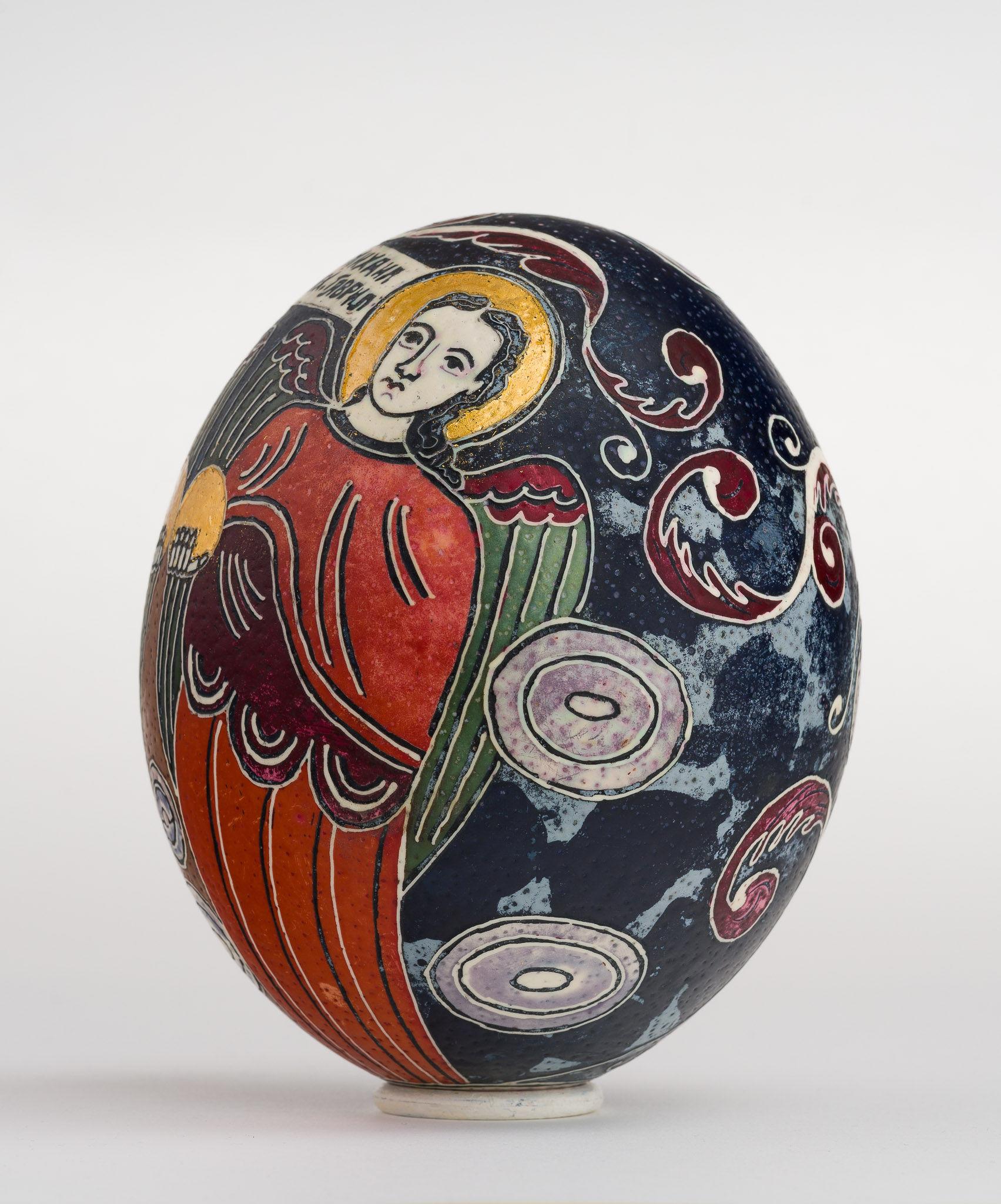 Icoană încondeiată pe ou de struț - Sfinții Arhangheli Mihail și Gavriil - maryando-125a.jpg