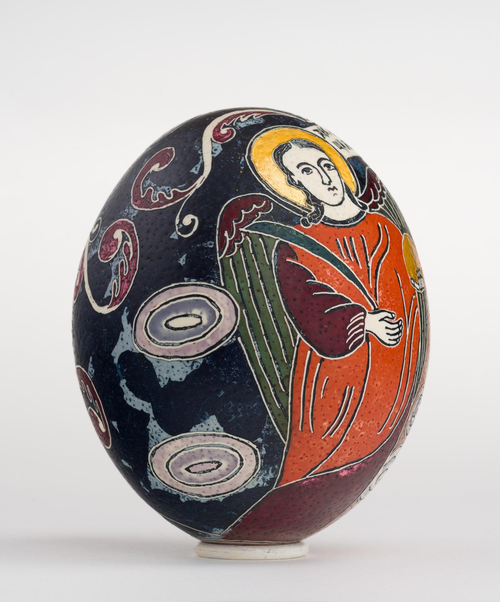 Icoană încondeiată pe ou de struț - Sfinții Arhangheli Mihail și Gavriil - maryando-125c.jpg