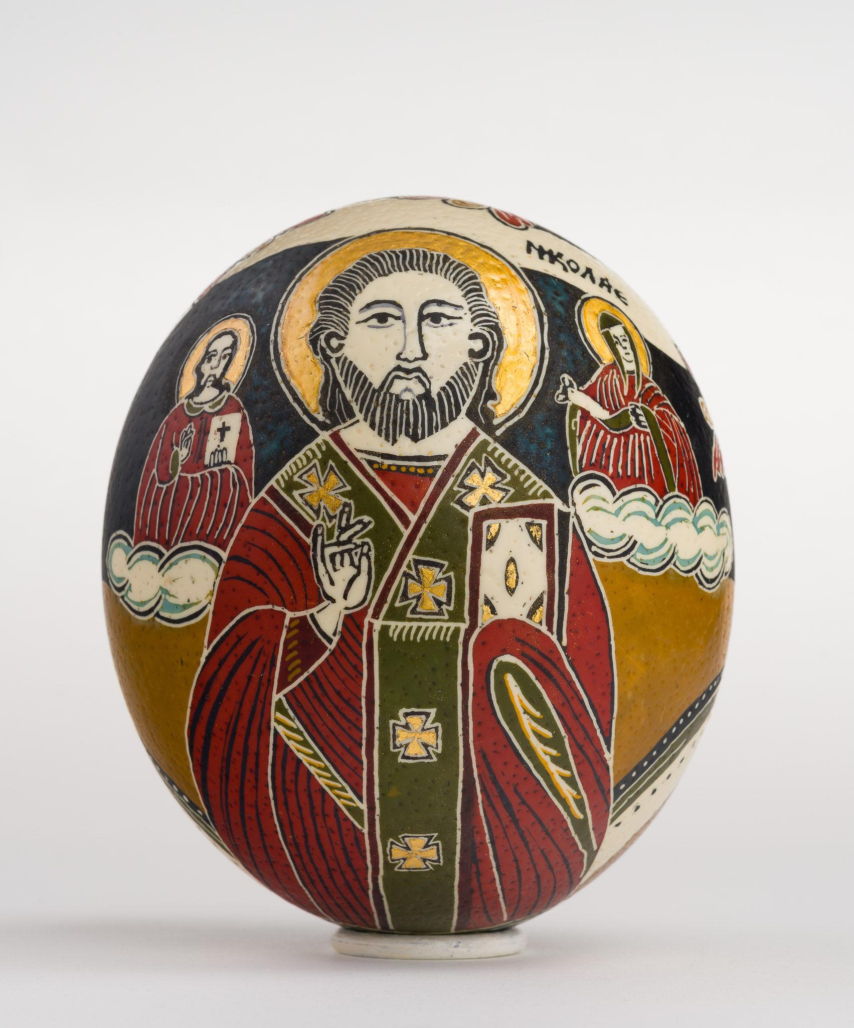Icoană încondeiată pe ou de struț - Iisus Hristos cu Apostoli