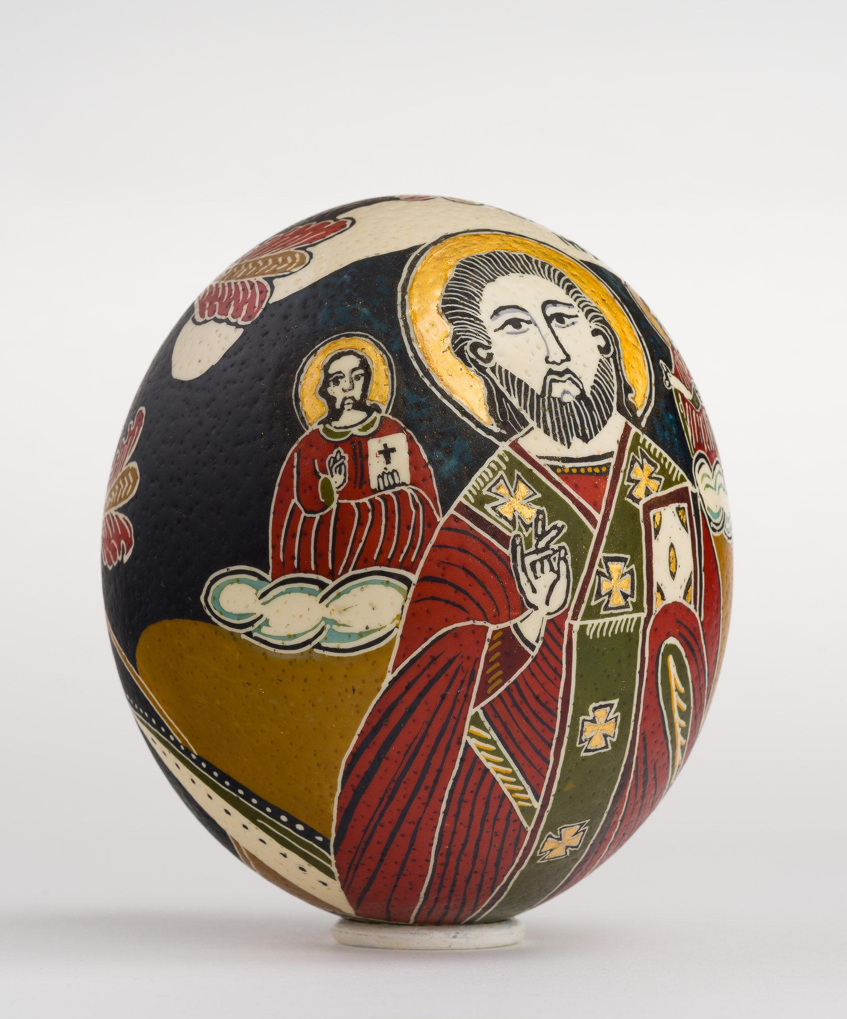 Icoană încondeiată pe ou de struț - Sfântul Nicolae - maryando-126c.jpg