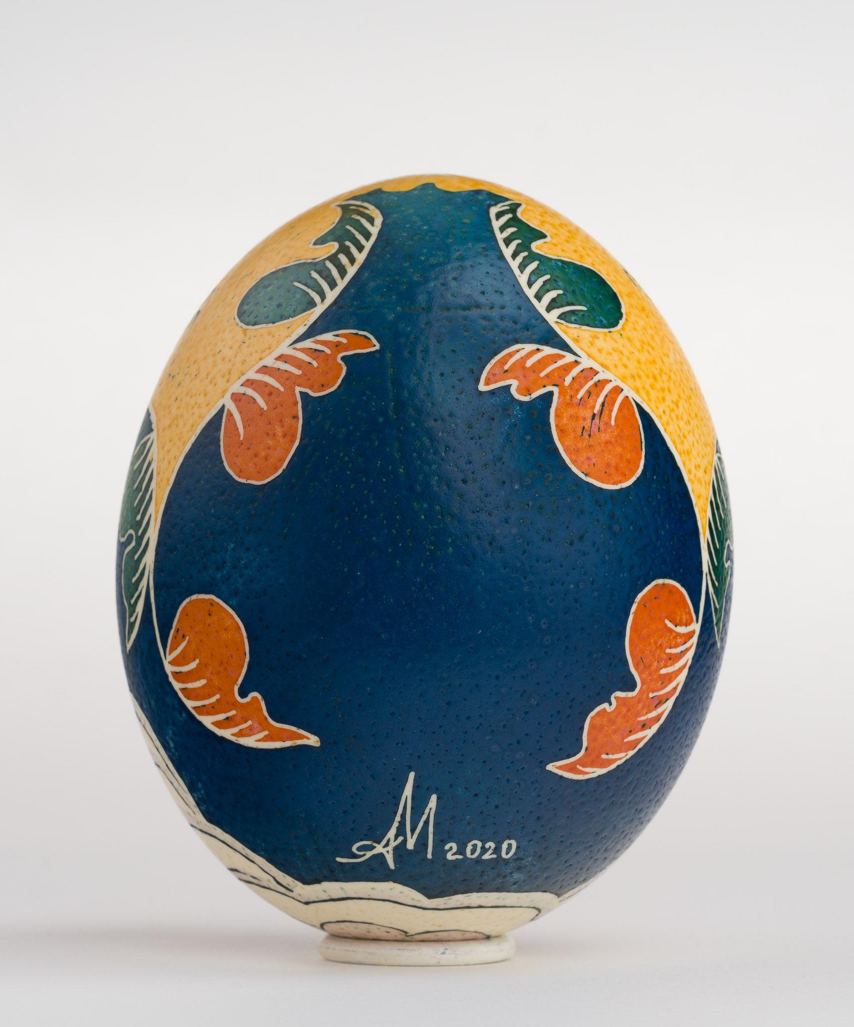 Icoană încondeiată pe ou de struț - Sfântul Haralambie - maryando-127b.jpg