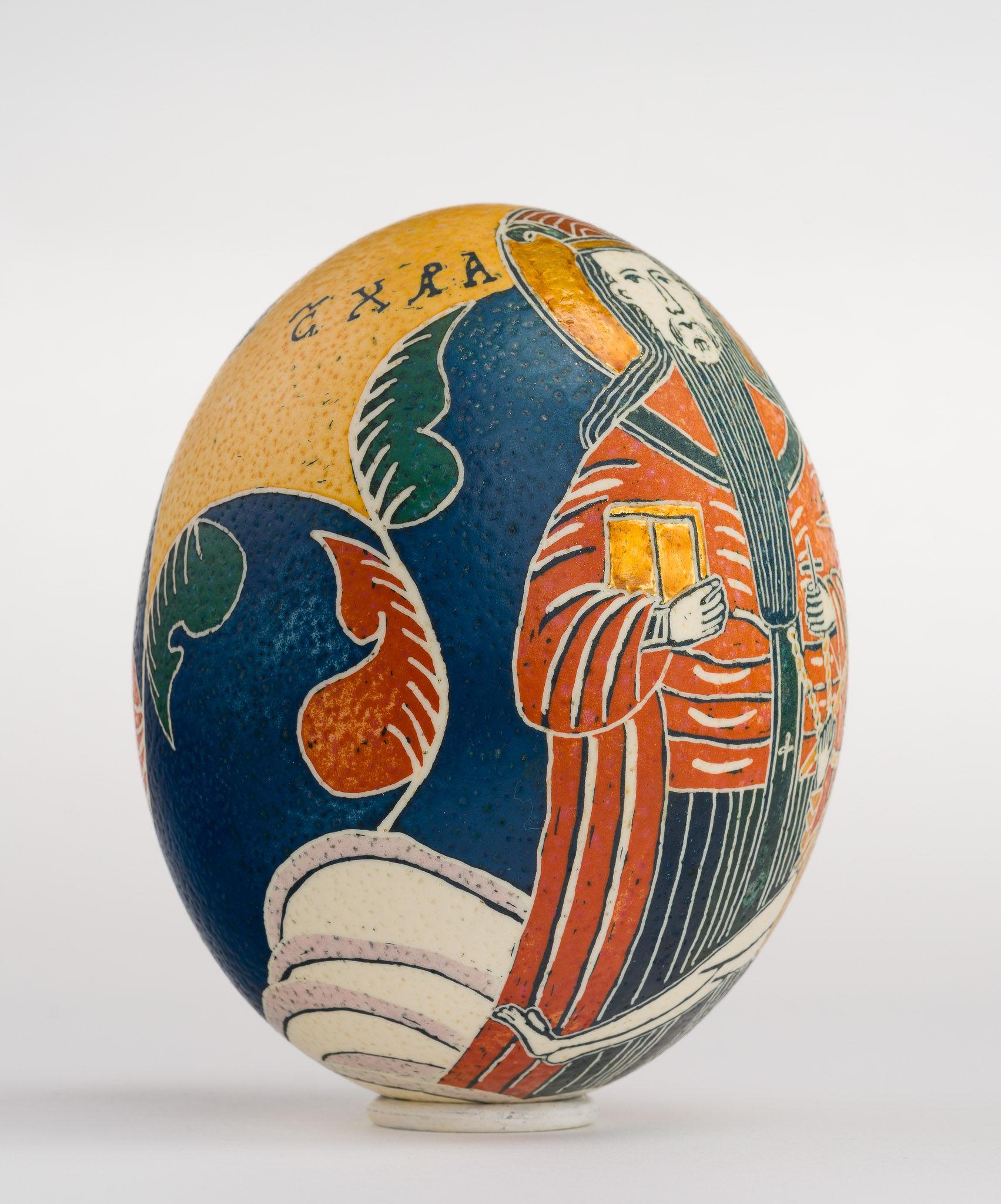 Icoană încondeiată pe ou de struț - Sfântul Haralambie - maryando-127c.jpg