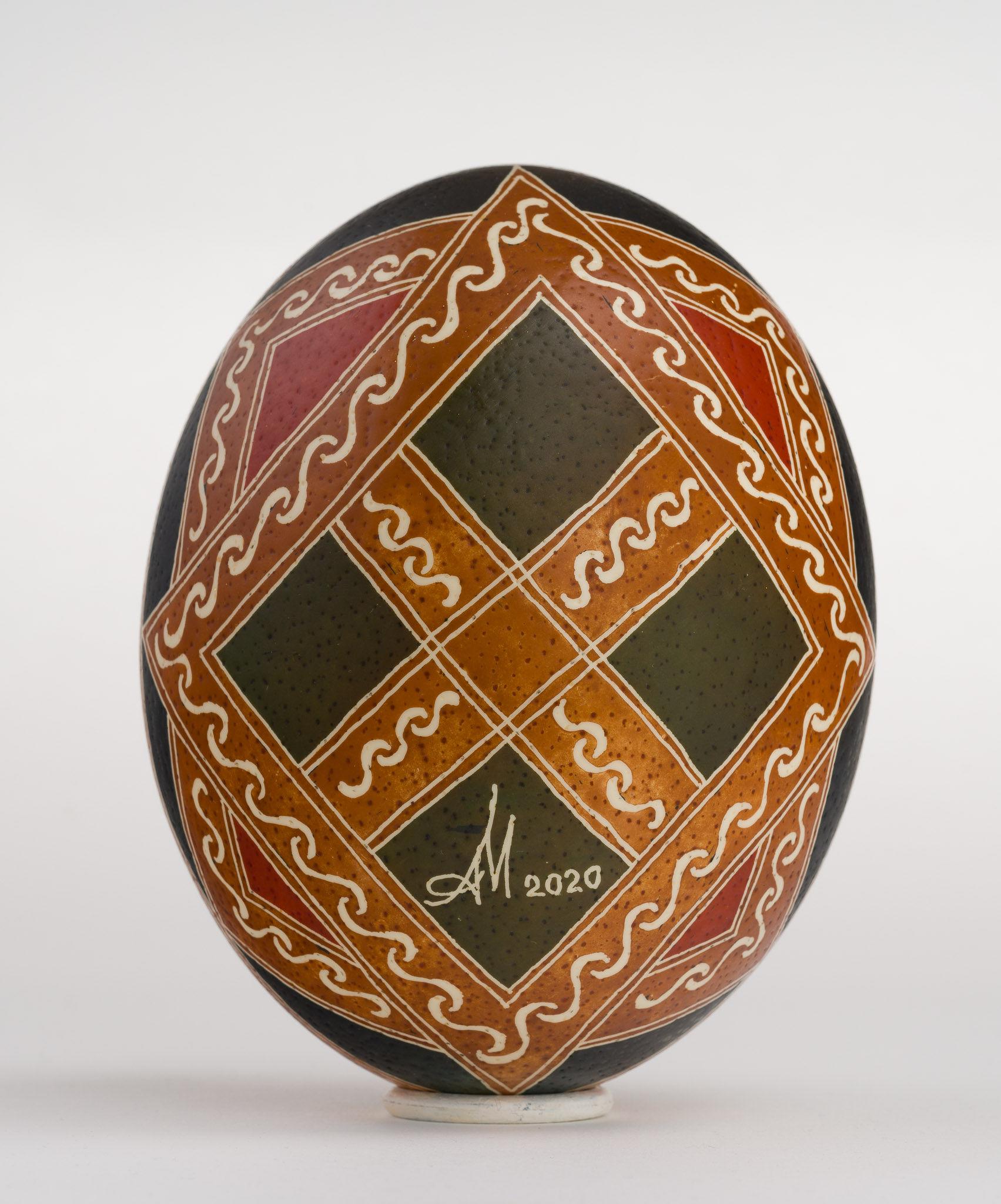 Icoană încondeiată pe ou de struț - Sfântul Gheorghe - maryando-128b.jpg
