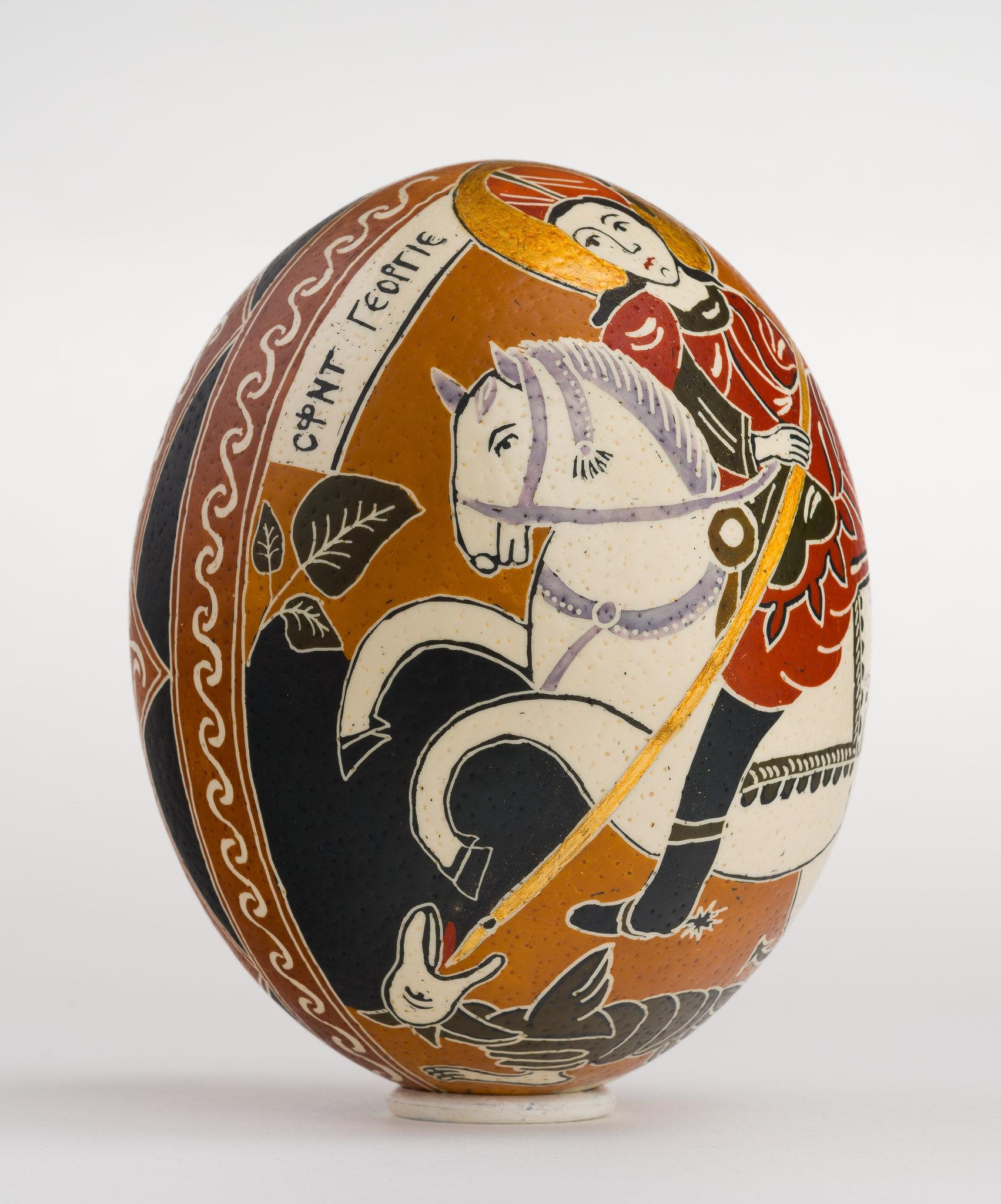 Icoană încondeiată pe ou de struț - Sfântul Gheorghe - maryando-128c.jpg