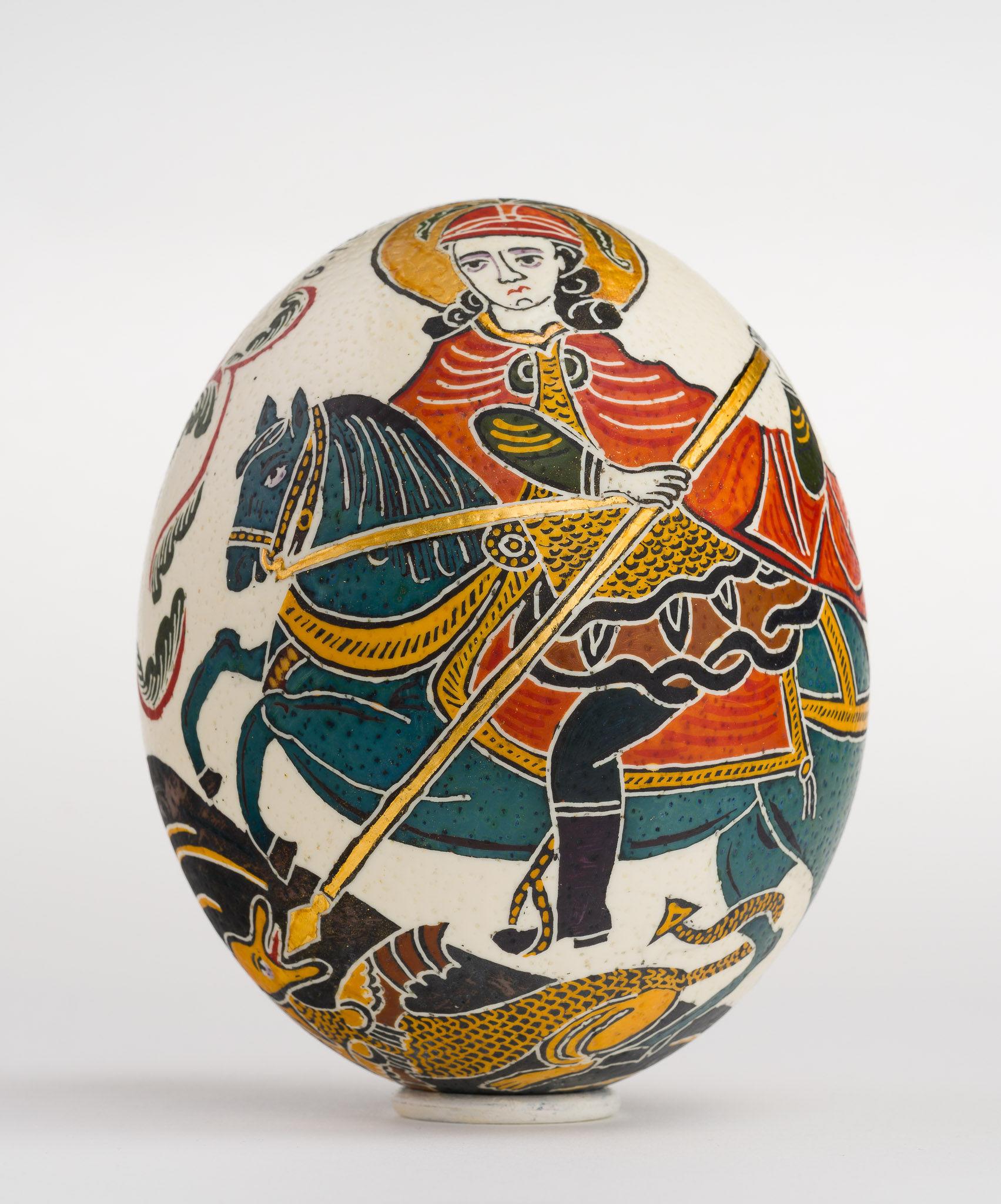 Icoană încondeiată pe ou de struț - Sfântul Gheorghe - maryando-129.jpg