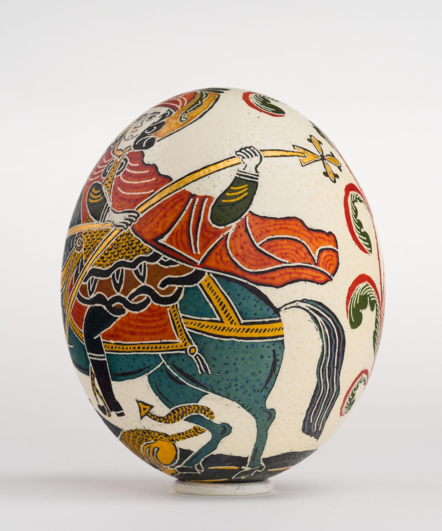 Icoană încondeiată pe ou de struț - Sfântul Gheorghe - maryando-129a.jpg