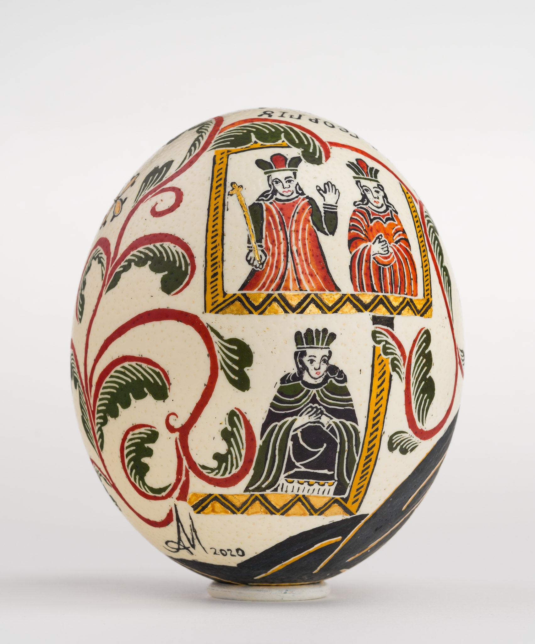 Icoană încondeiată pe ou de struț - Sfântul Gheorghe - maryando-129b.jpg