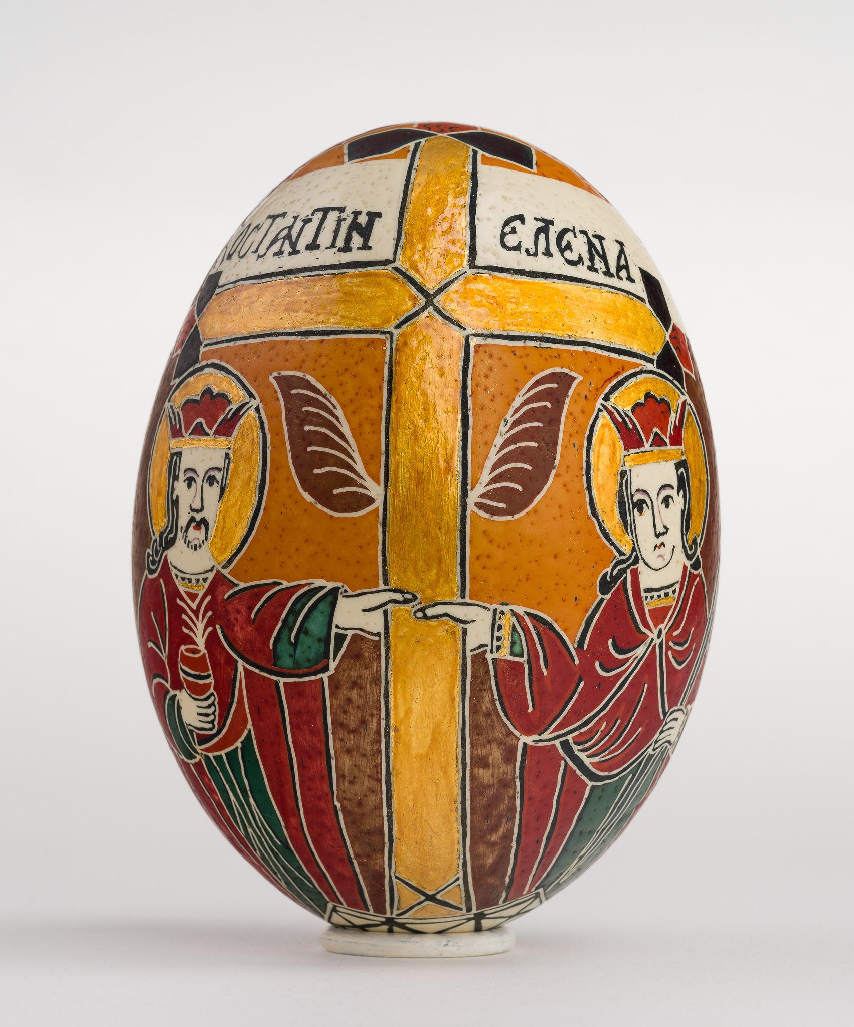 Icoană încondeiată pe ou de struț - Sfinții Împărați Constantin și Elena - maryando-130.jpg