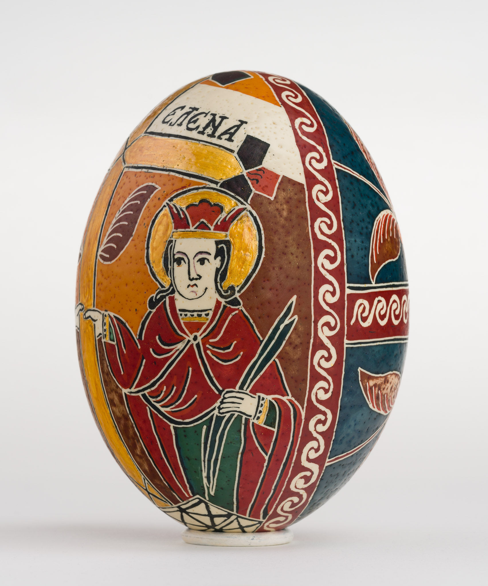 Icoană încondeiată pe ou de struț - Sfinții Împărați Constantin și Elena - maryando-130a.jpg