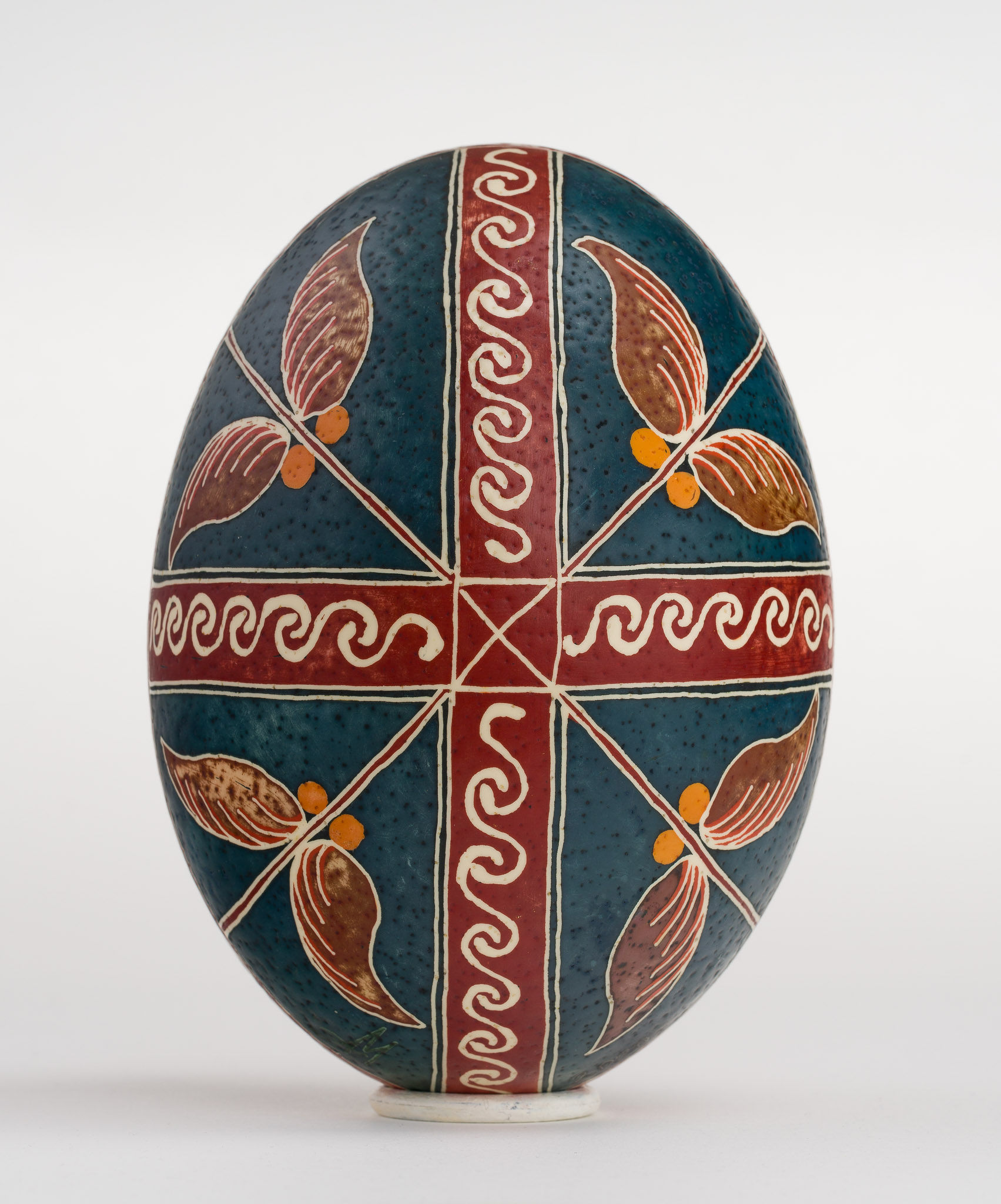 Icoană încondeiată pe ou de struț - Sfinții Împărați Constantin și Elena - maryando-130b.jpg