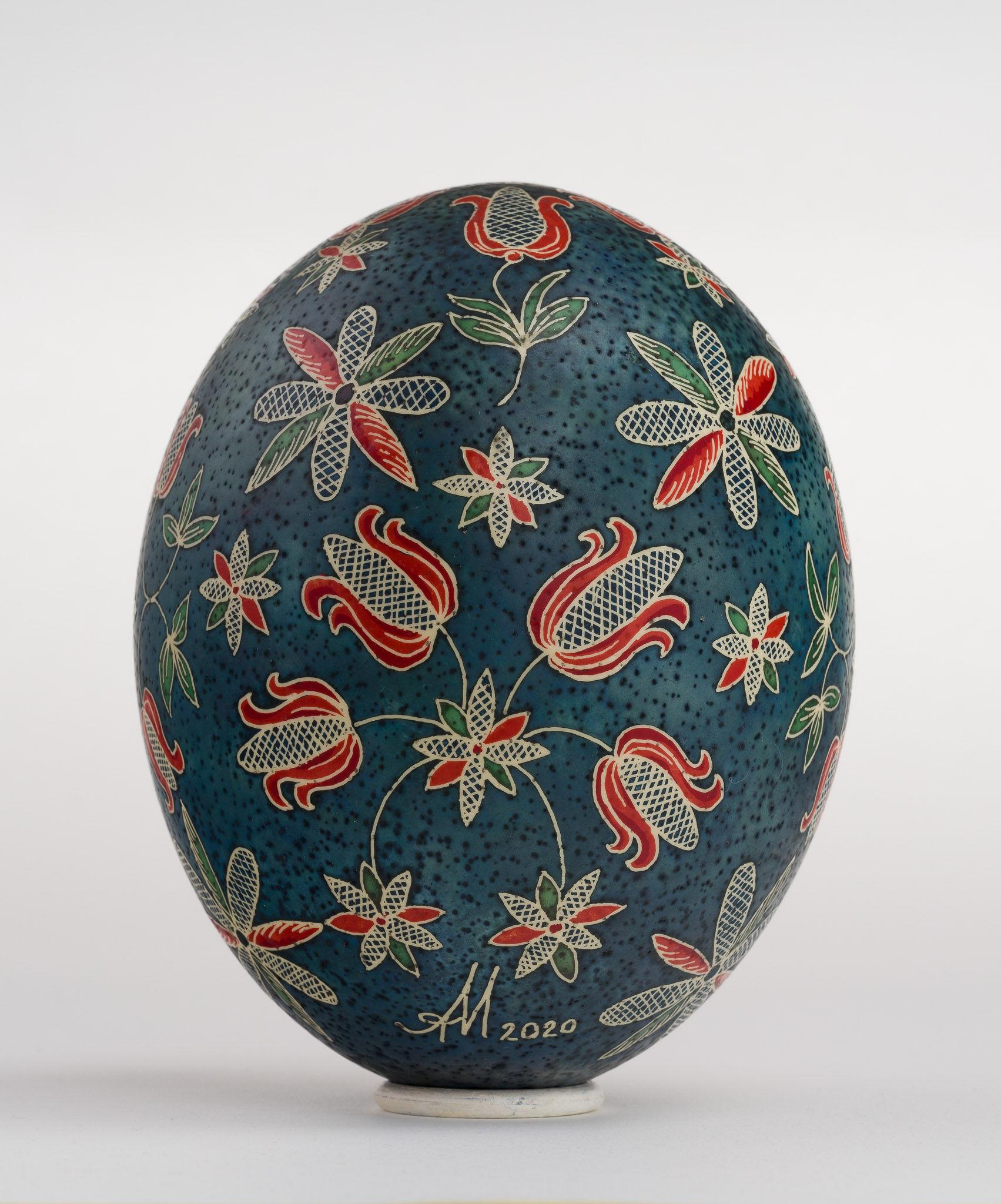 Icoană încondeiată pe ou de struț - Iisus Învățător - maryando-138b.jpg