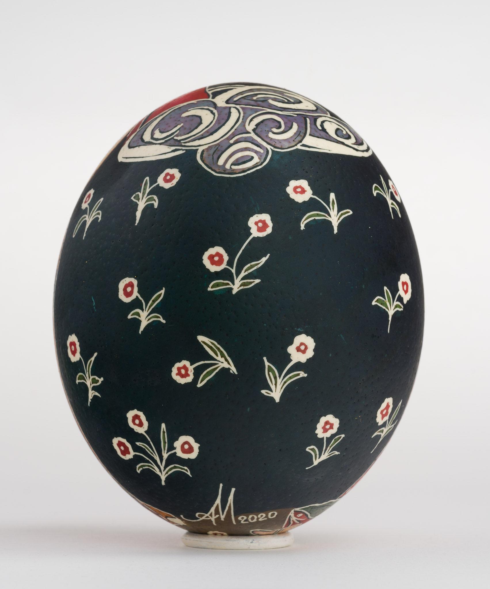 Icoană încondeiată pe ou de struț - Nașterea Domnului - maryando-139b.jpg