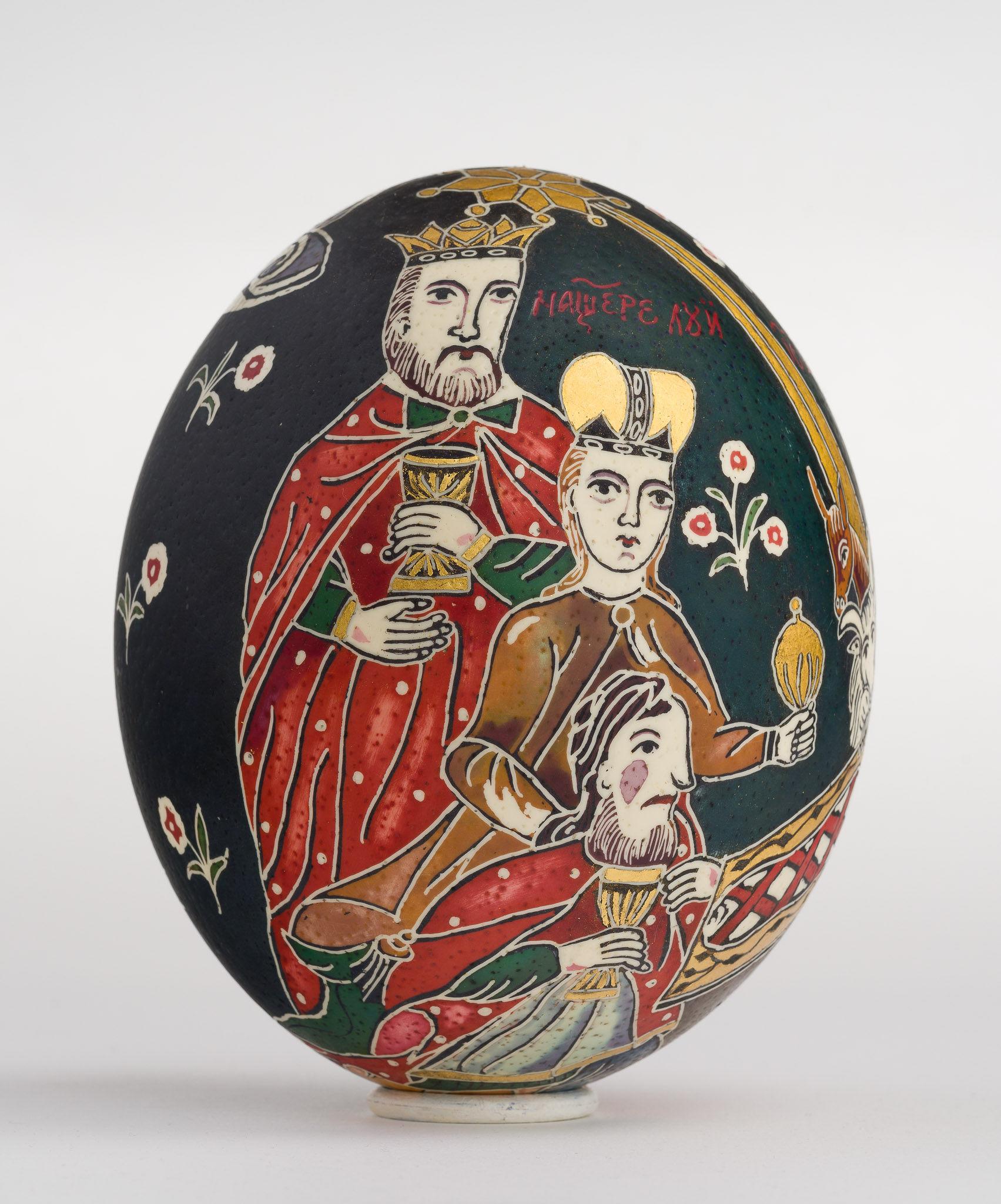 Icoană încondeiată pe ou de struț - Nașterea Domnului - maryando-139c.jpg